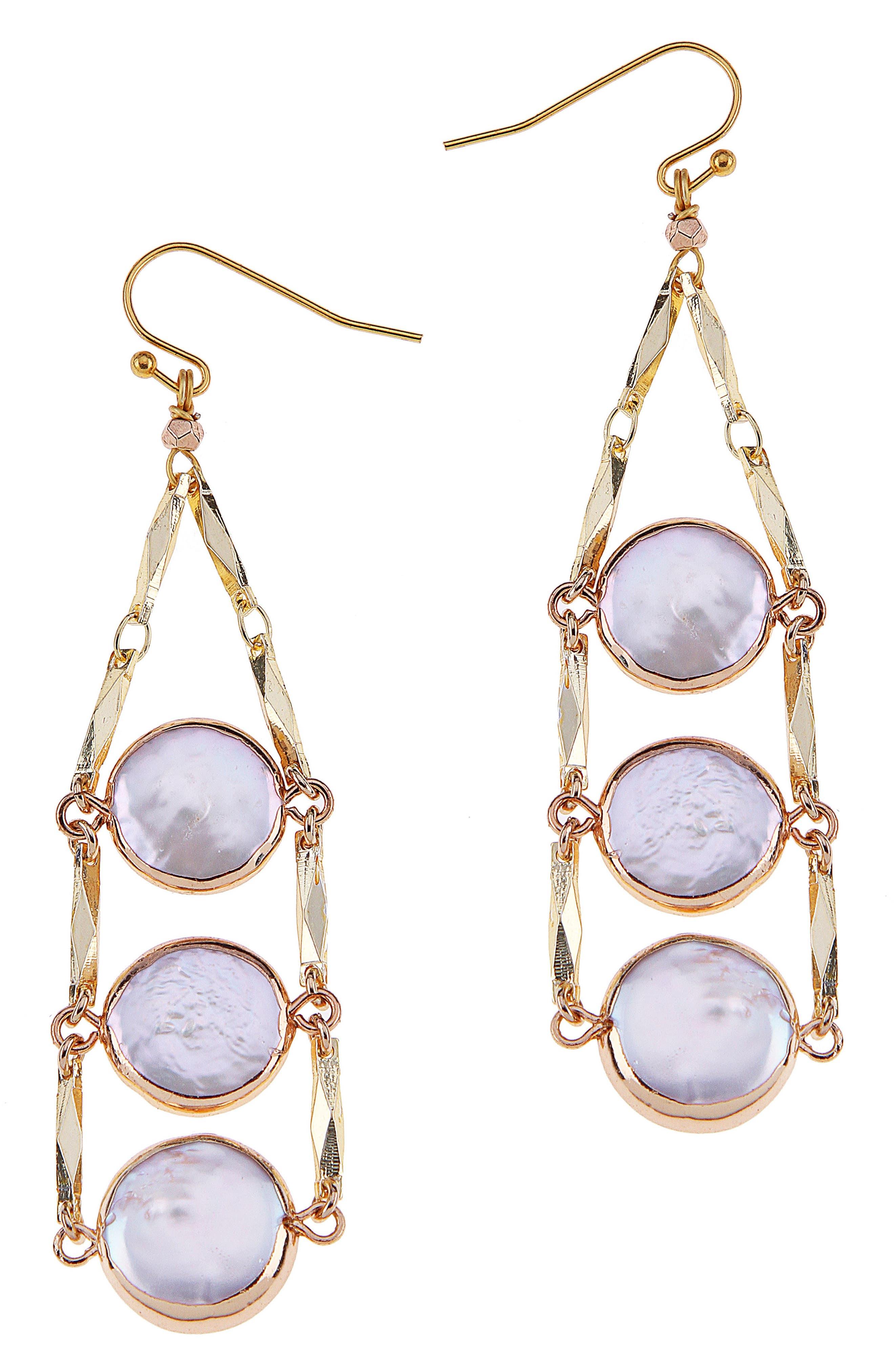 Triple Coin Freshwater Pearl Drop Earrings,                             Main thumbnail 1, color,                             White