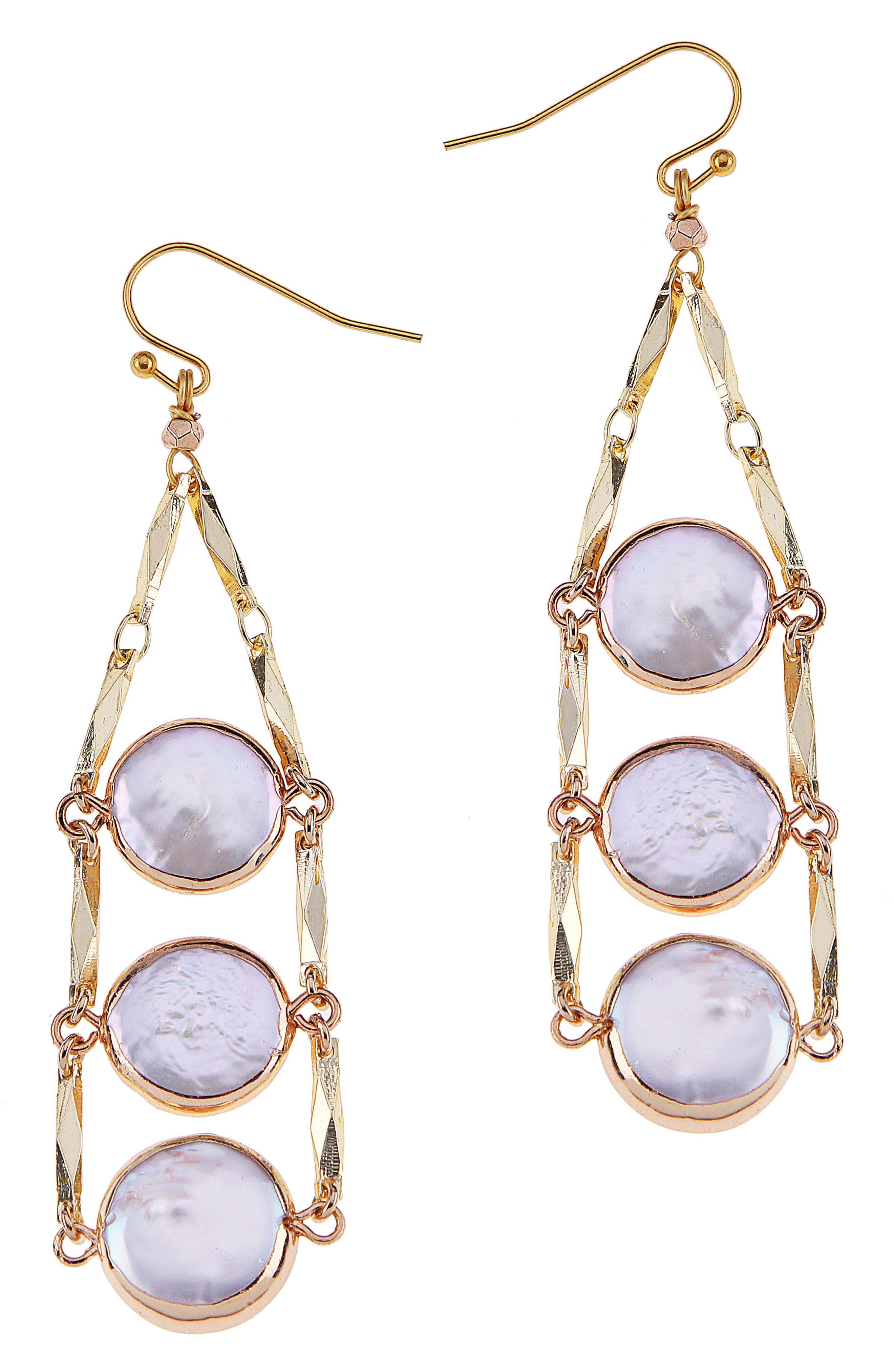 Triple Coin Freshwater Pearl Drop Earrings,                         Main,                         color, White