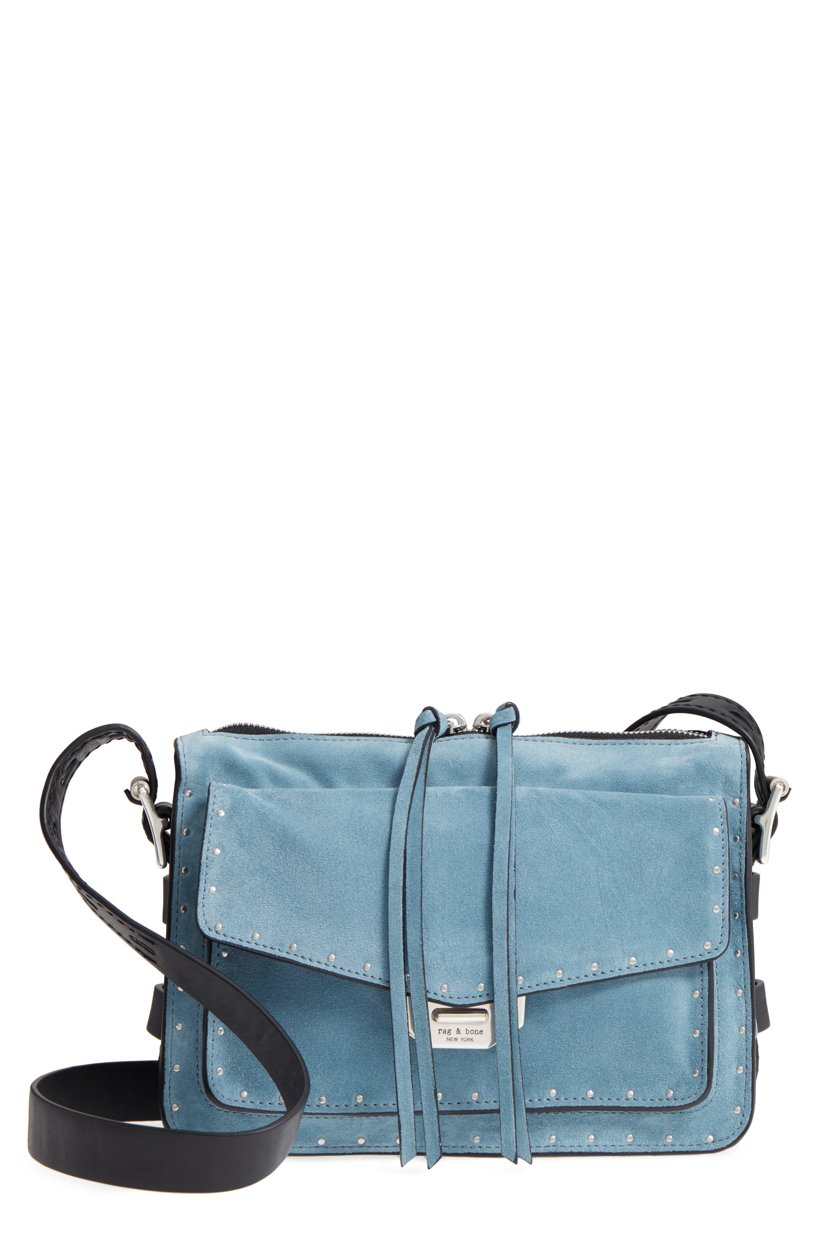 Small Field Suede Messenger Bag,                         Main,                         color, Lt Indigo Suede