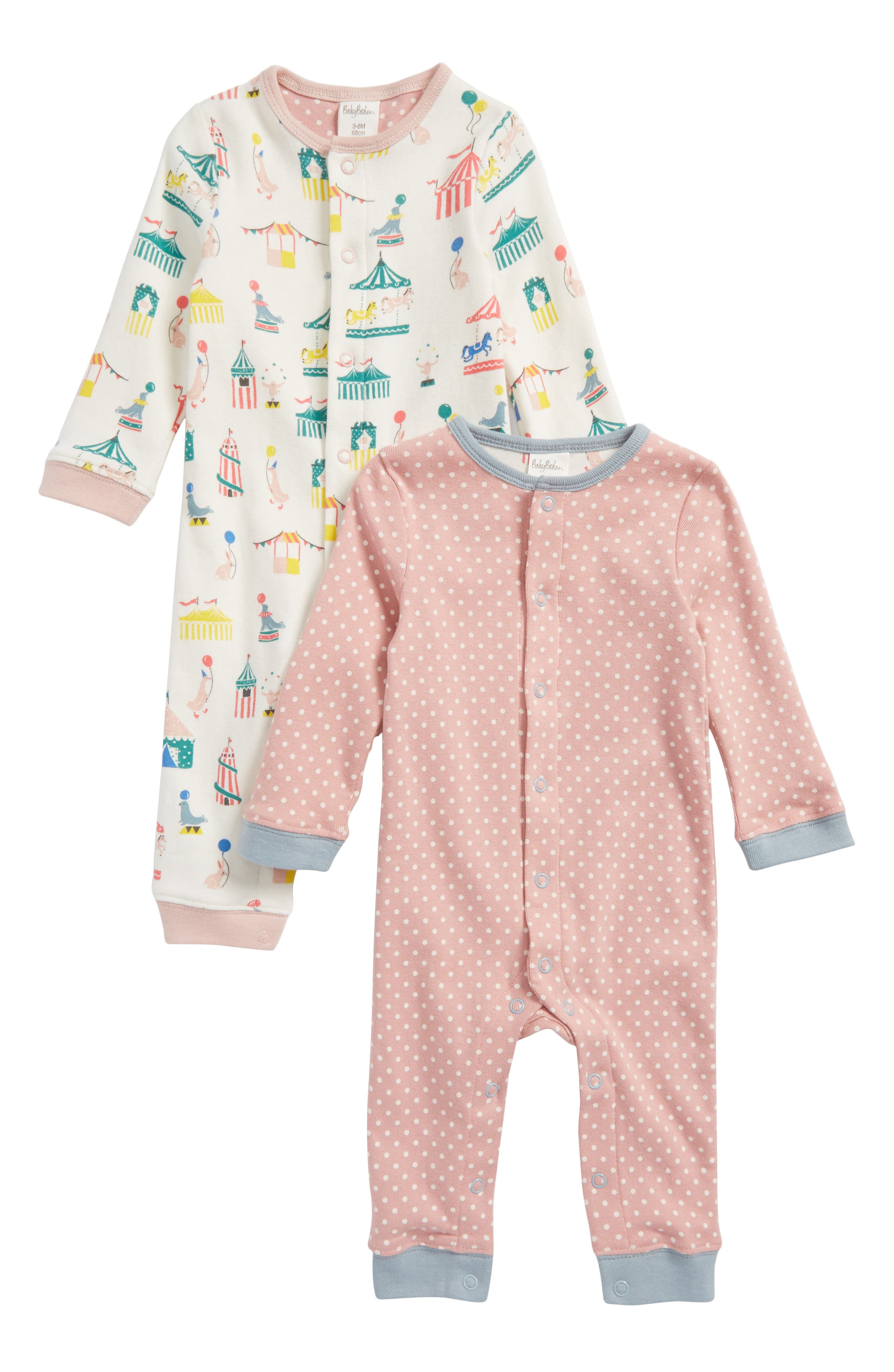 Mini Boden Cozy 2-Pack Rompers (Baby Girls)