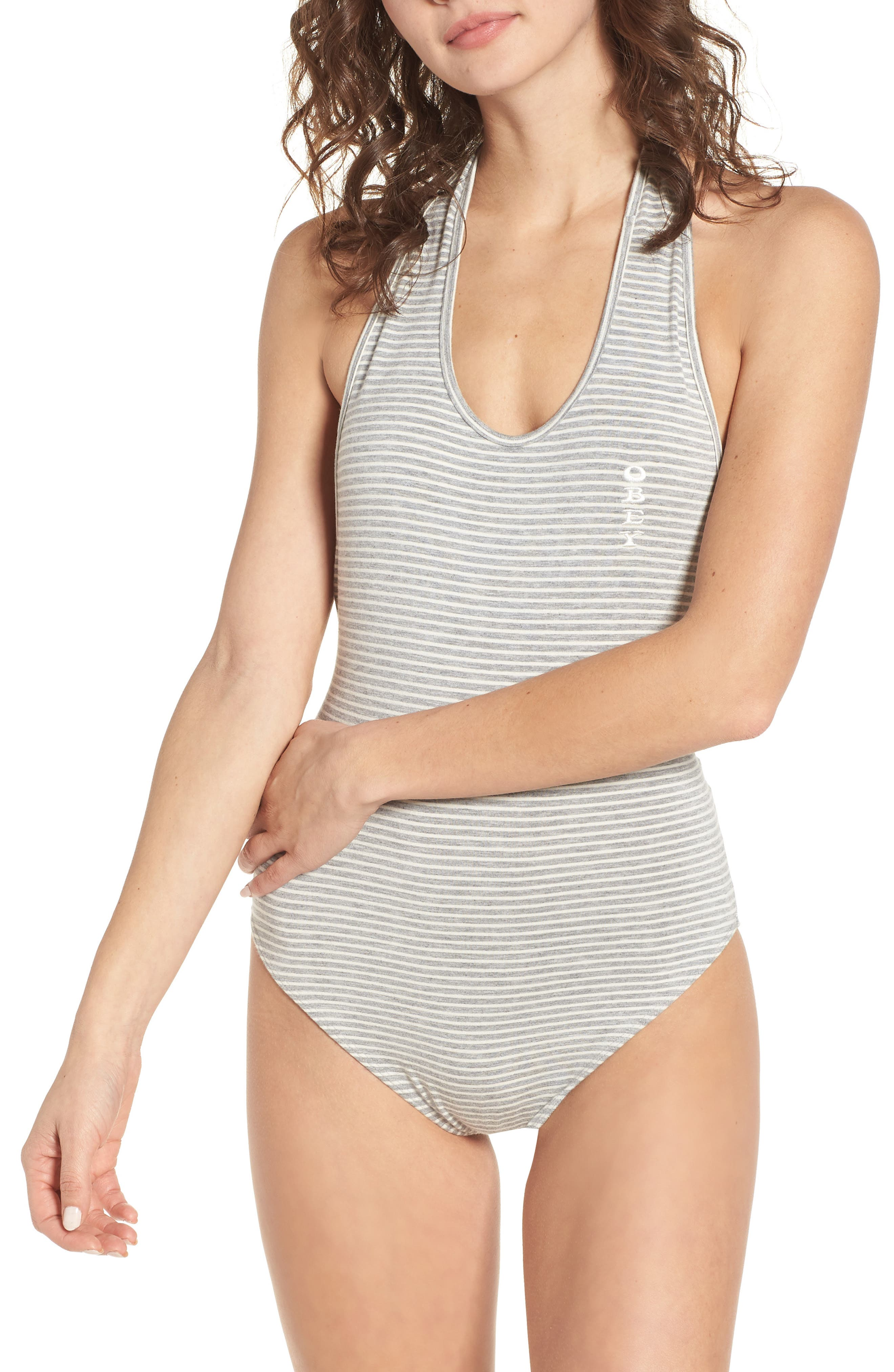 Luna Stripe Bodysuit,                             Alternate thumbnail 2, color,                             Heather Grey Multi
