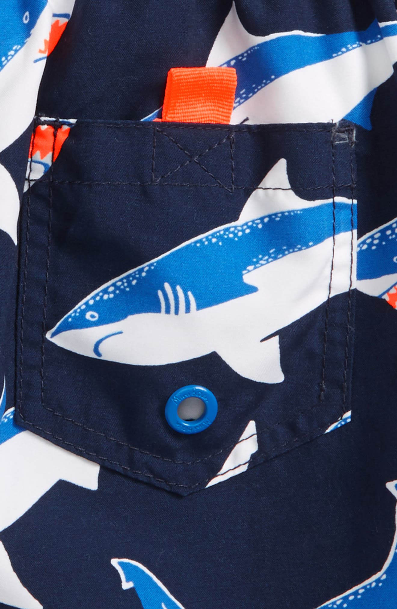 Shark Print Board Shorts,                             Alternate thumbnail 3, color,                             School Navy Sharks