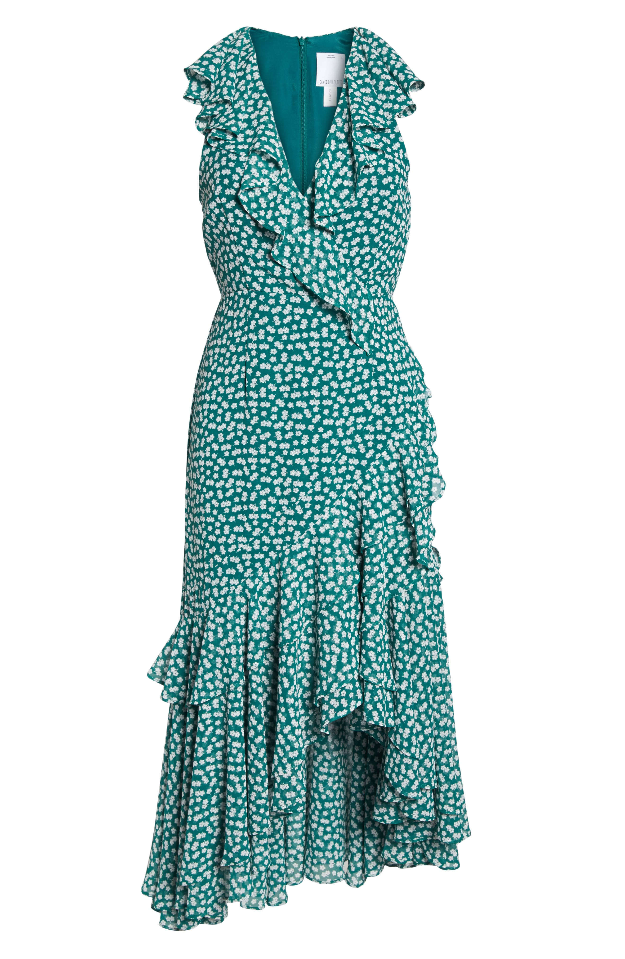 Be About You Ruffle Midi Dress,                             Alternate thumbnail 6, color,                             Green Daisy
