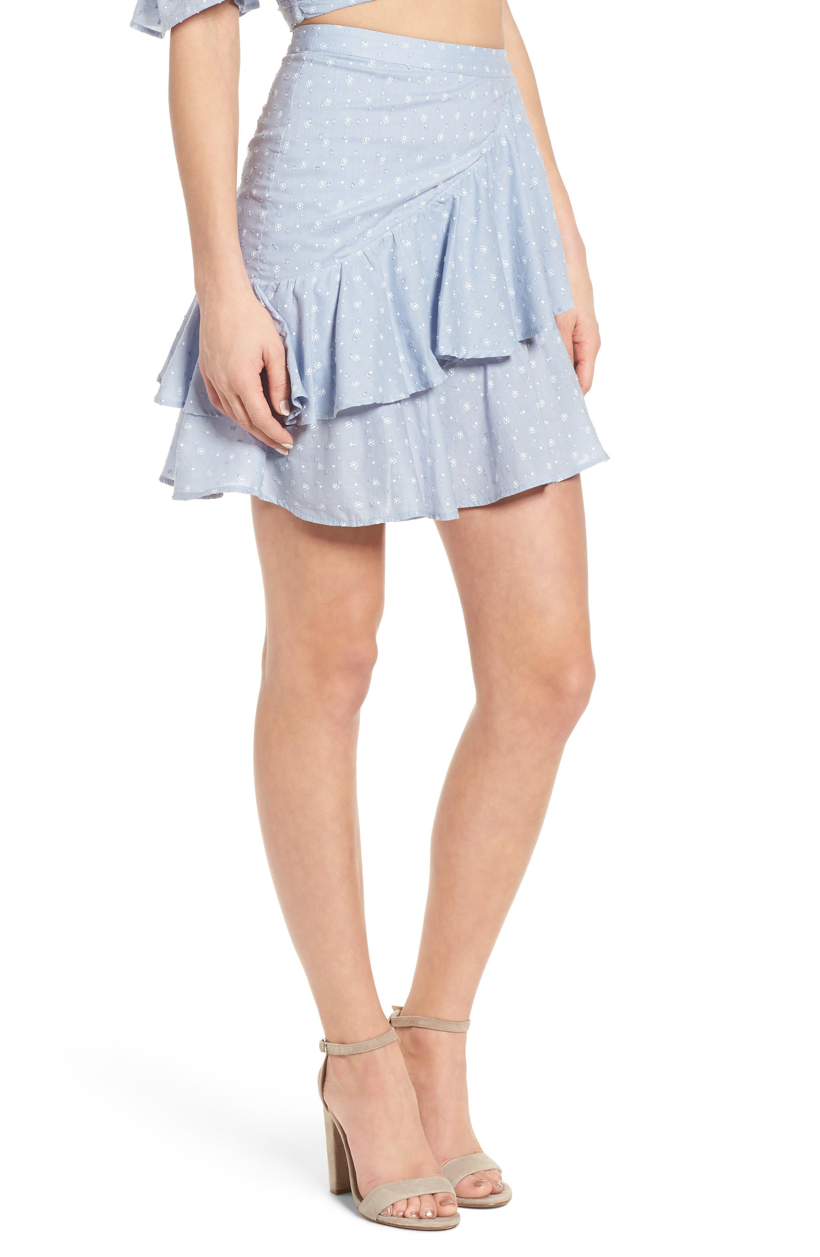 Mara Ruffled Miniskirt,                             Alternate thumbnail 4, color,                             Sail Blue