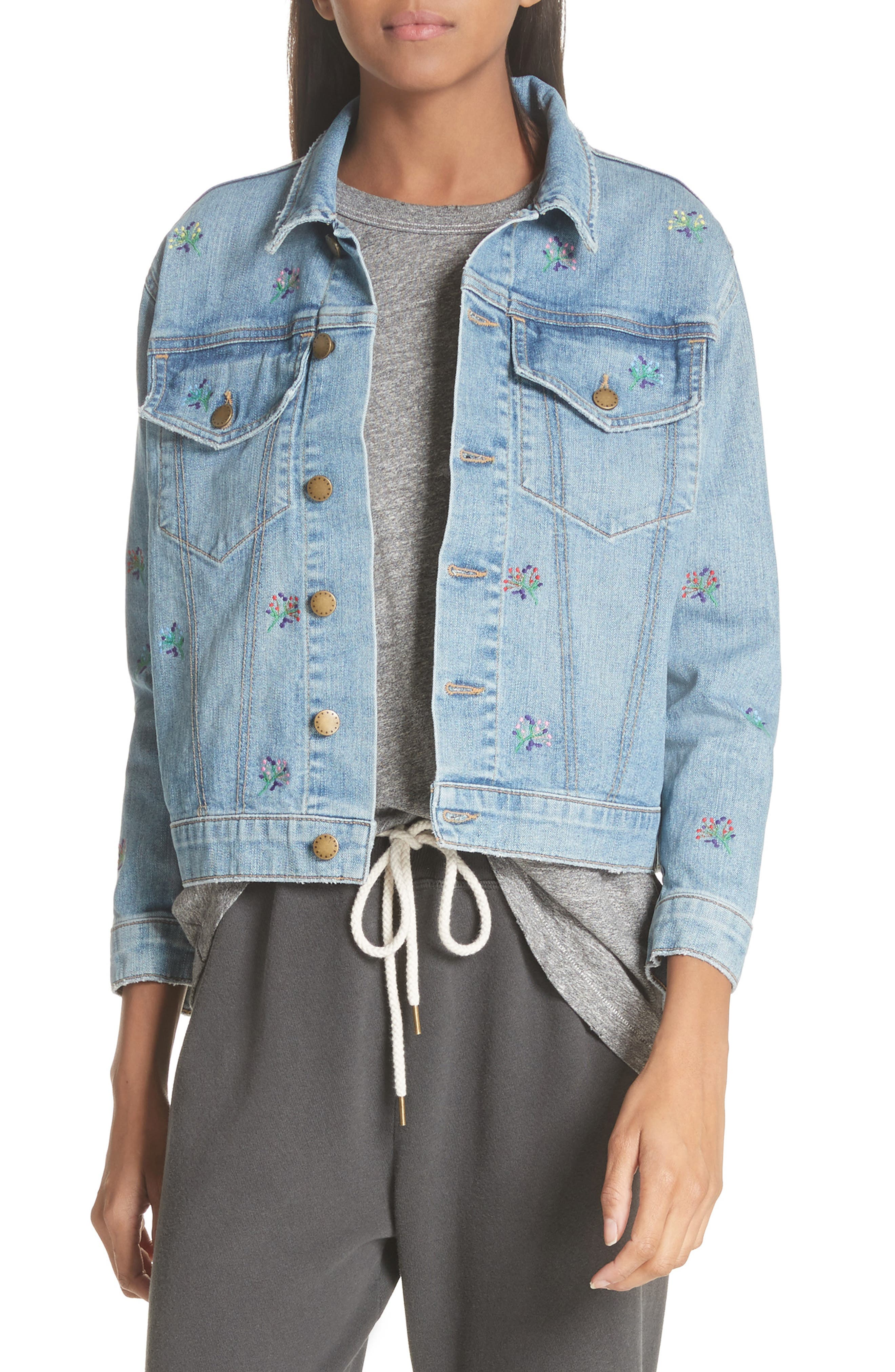 The Boxy Jean Jacket,                             Main thumbnail 1, color,                             Canteen Wash W/ Flower Emb