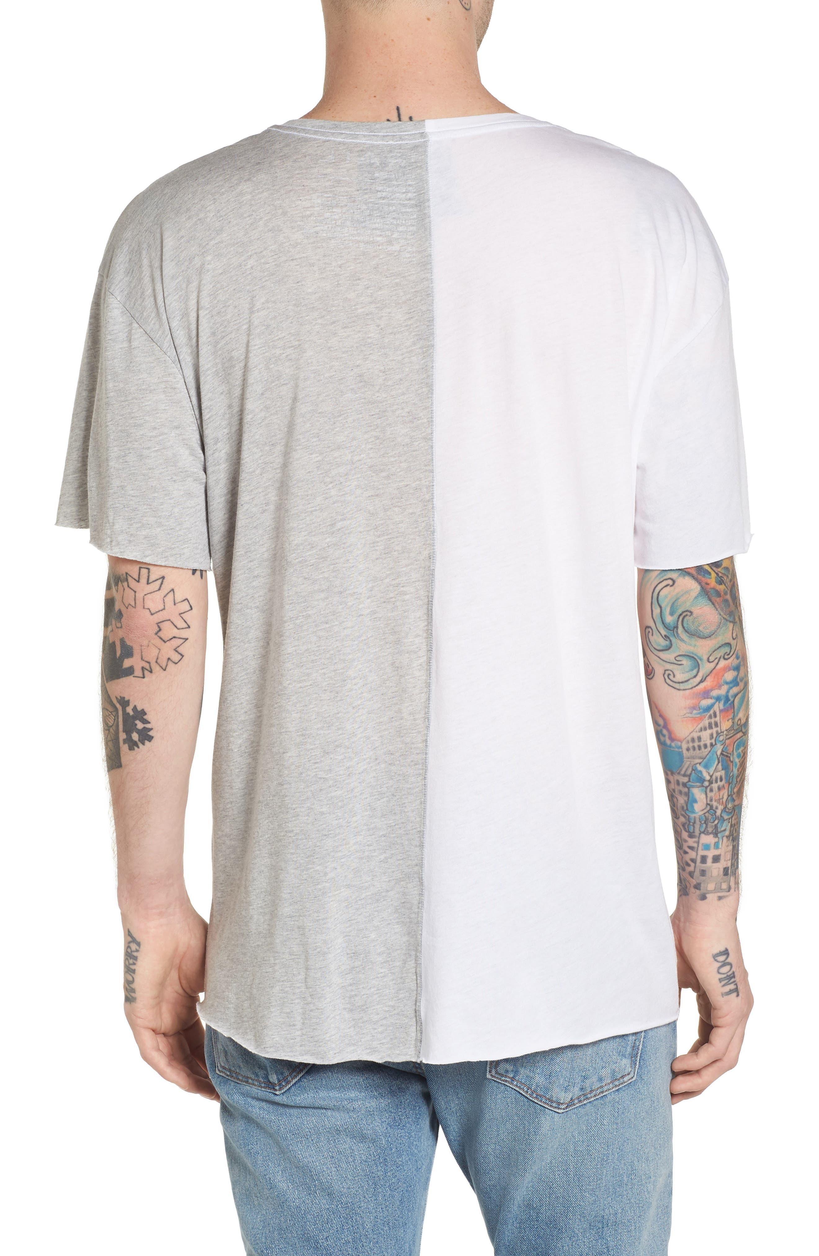 Boxy Splice T-Shirt,                             Alternate thumbnail 2, color,                             White/ Grey Heather