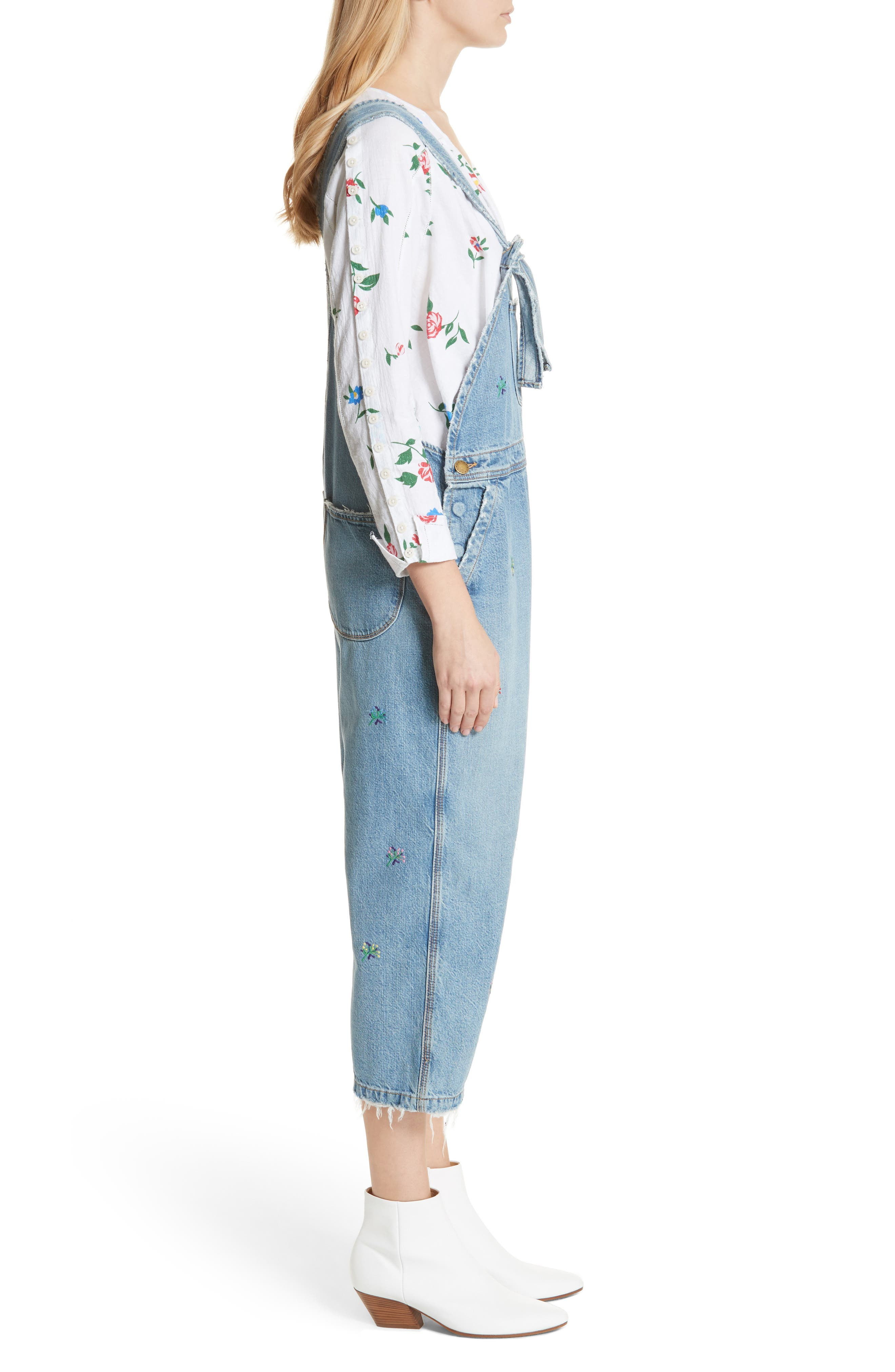 The Shop Embroidered Overalls,                             Alternate thumbnail 4, color,                             Canteen Wash W/ Flower Emb