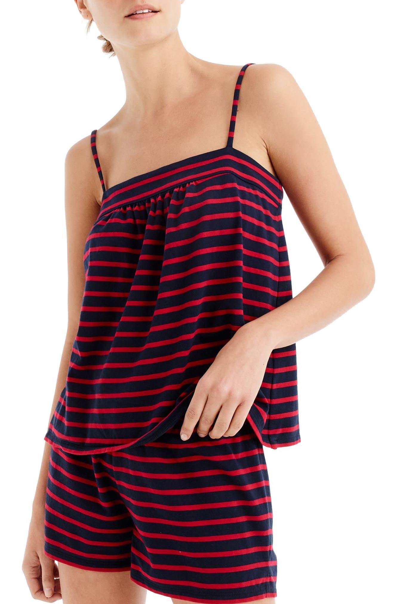 Stripe Short Pajamas,                         Main,                         color, Navy Red