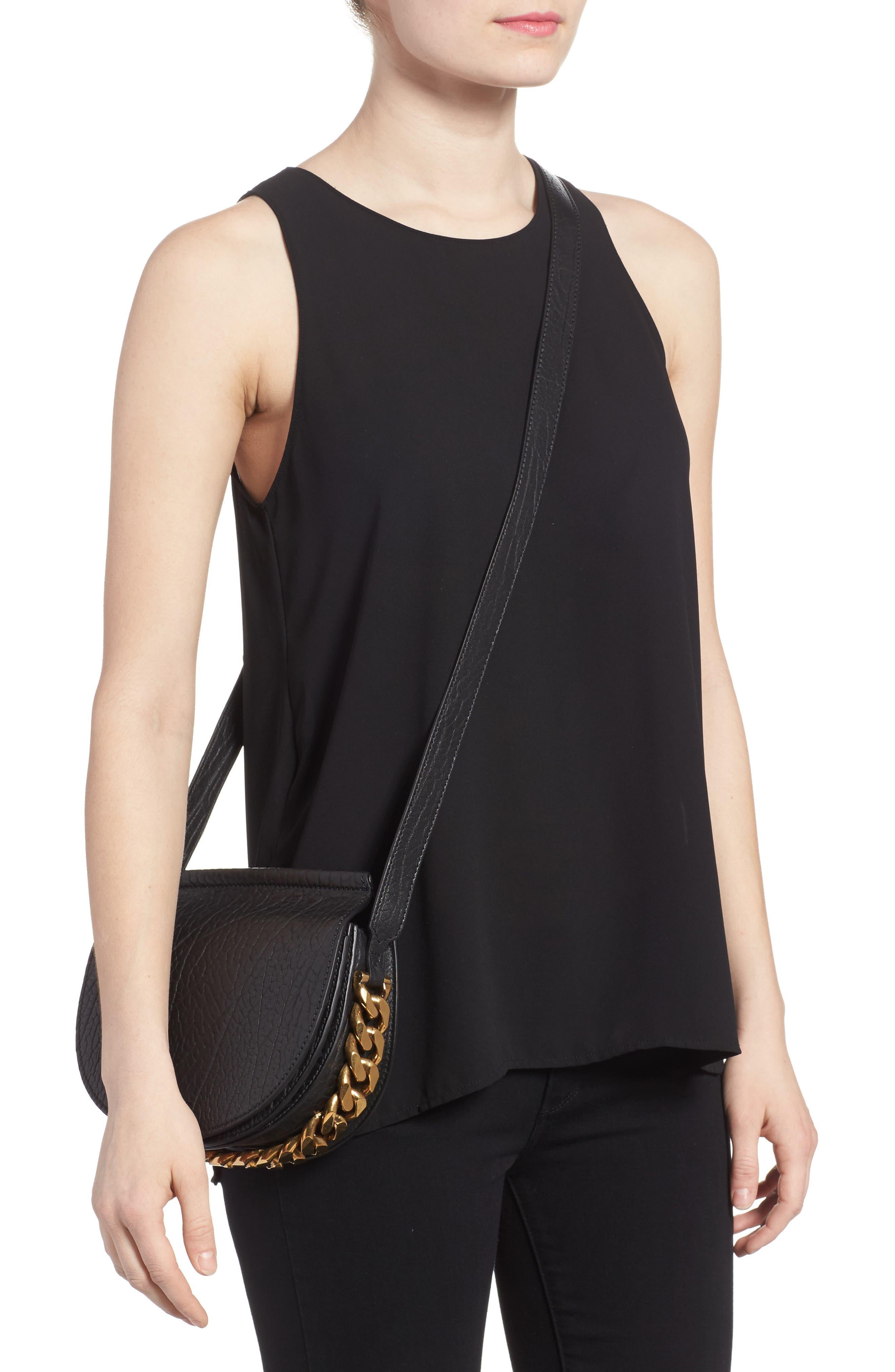 Infinity Calfskin Leather Saddle Bag,                             Alternate thumbnail 2, color,                             Black