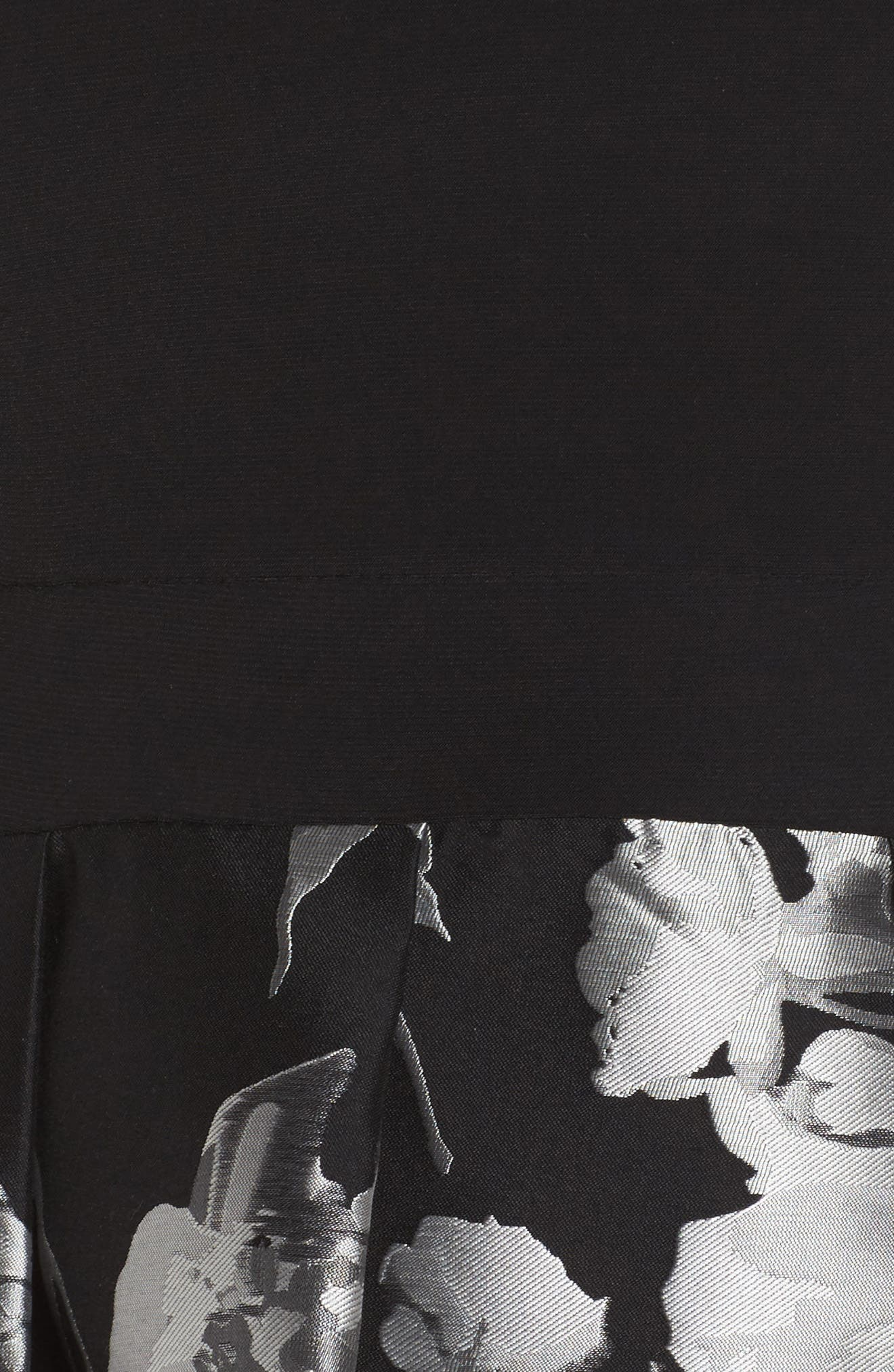 Brocade High/Low Dress,                             Alternate thumbnail 5, color,                             Black/ Silver