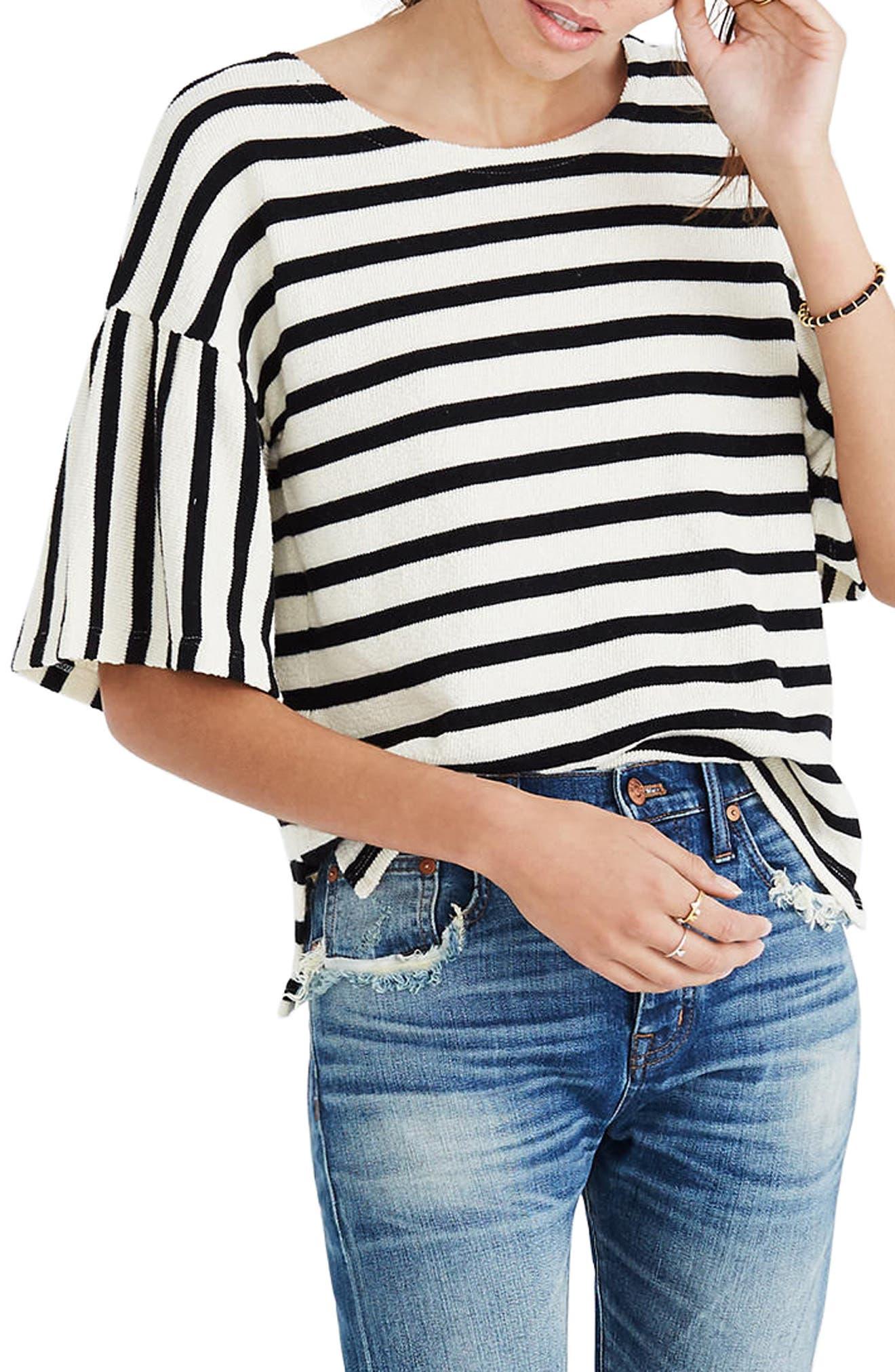 Stripe Bell Sleeve Top,                         Main,                         color, True Black