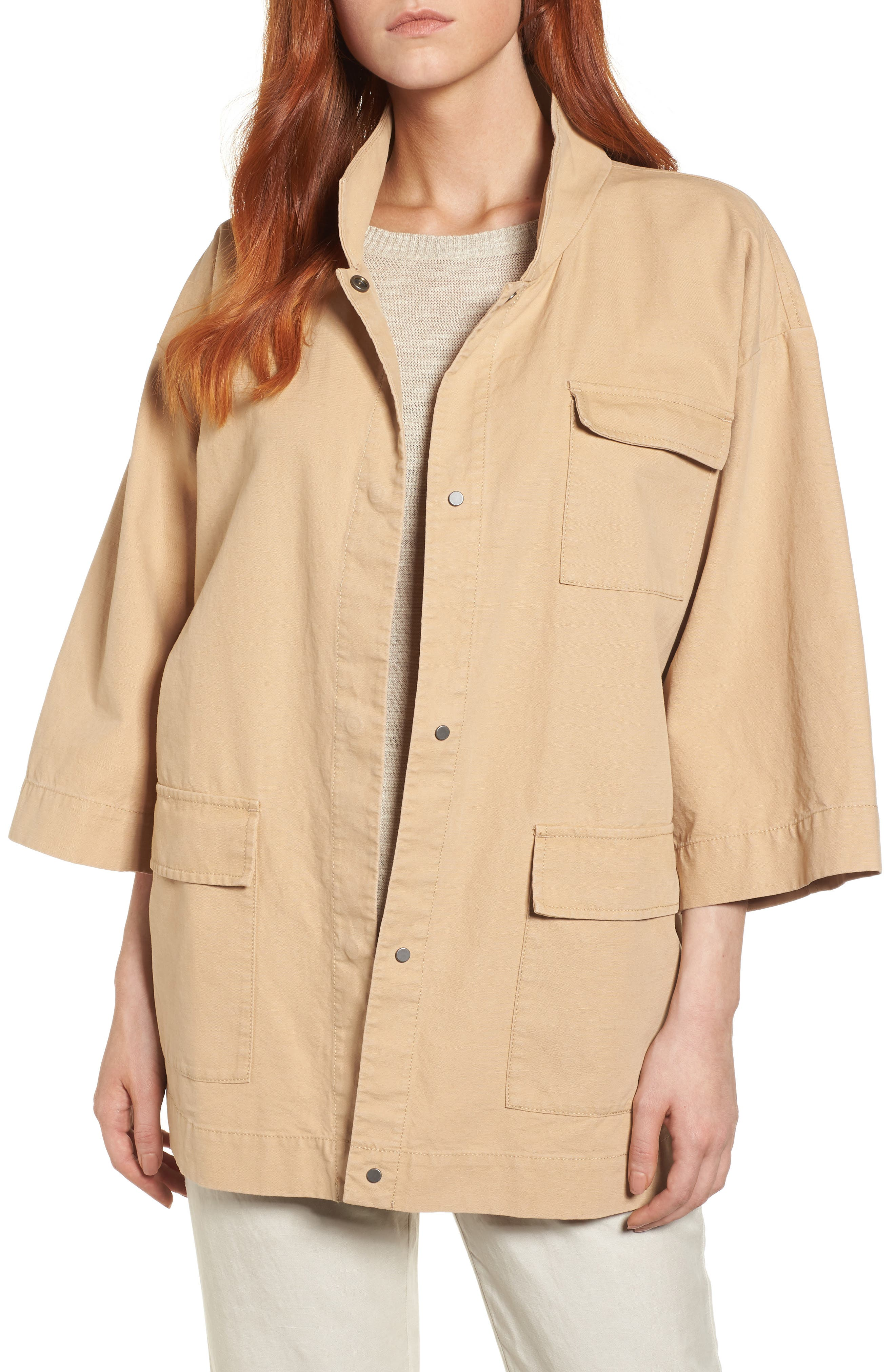 Organic Cotton & Hemp Jacket,                             Main thumbnail 1, color,                             Wheat