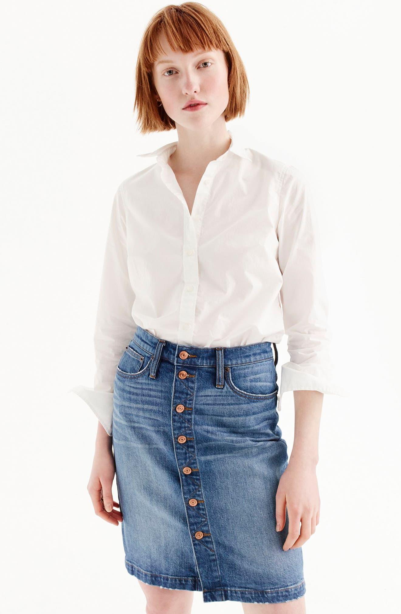 J.Crew New Perfect Cotton Poplin Shirt,                             Main thumbnail 1, color,                             White