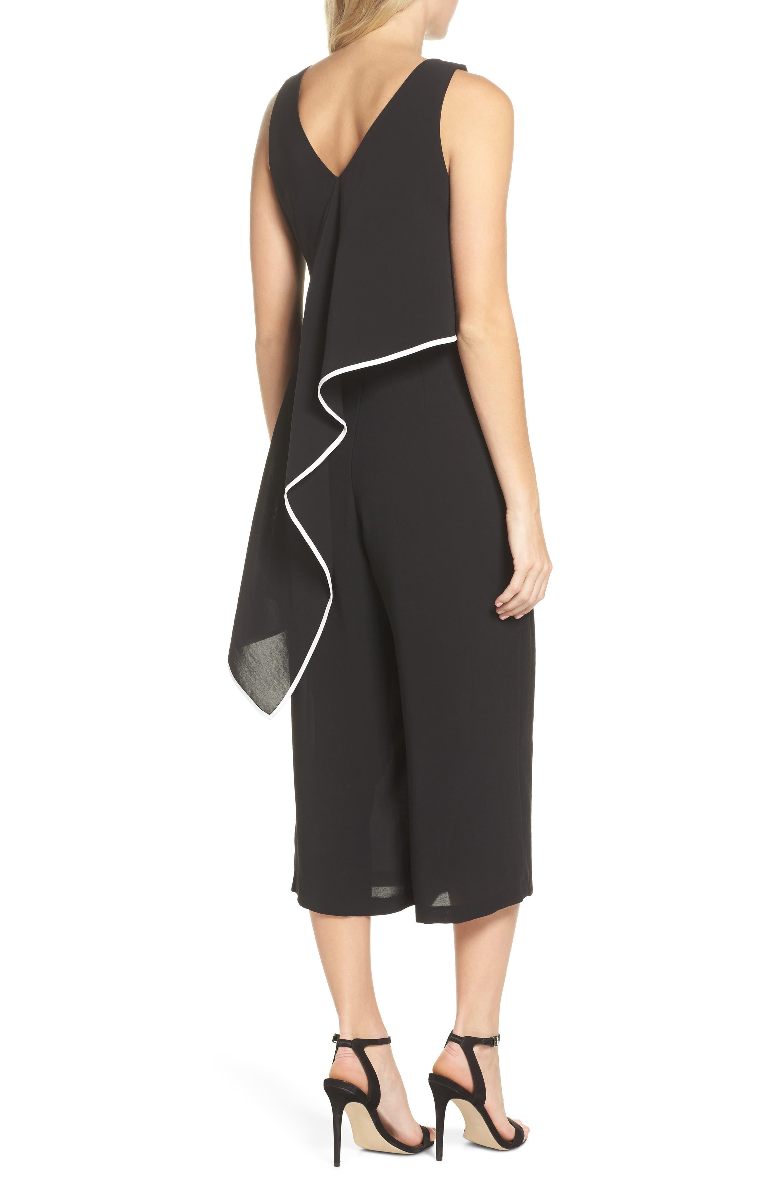 Contrast Trim Crop Jumpsuit,                             Alternate thumbnail 2, color,                             Black/ Ivory
