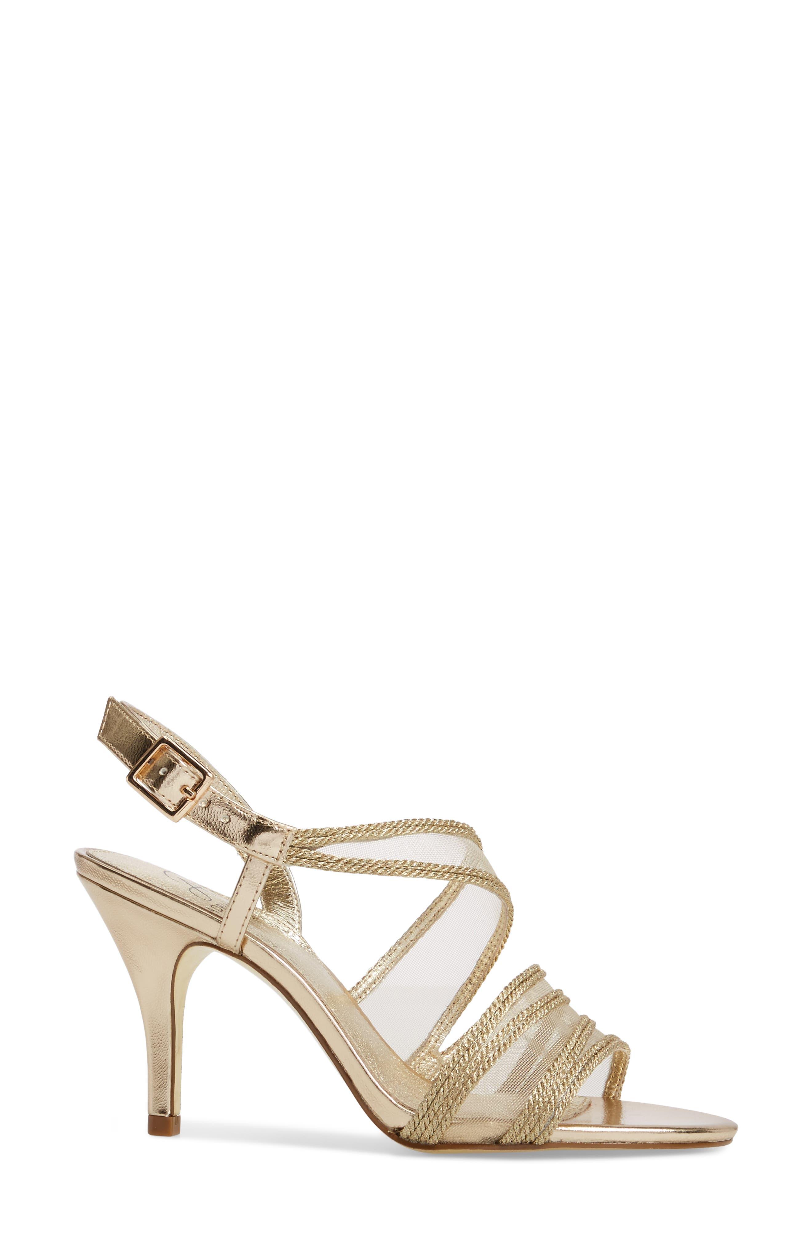 Adelphi Asymmetrical Mesh Sandal,                             Alternate thumbnail 3, color,                             Platinum Fabric