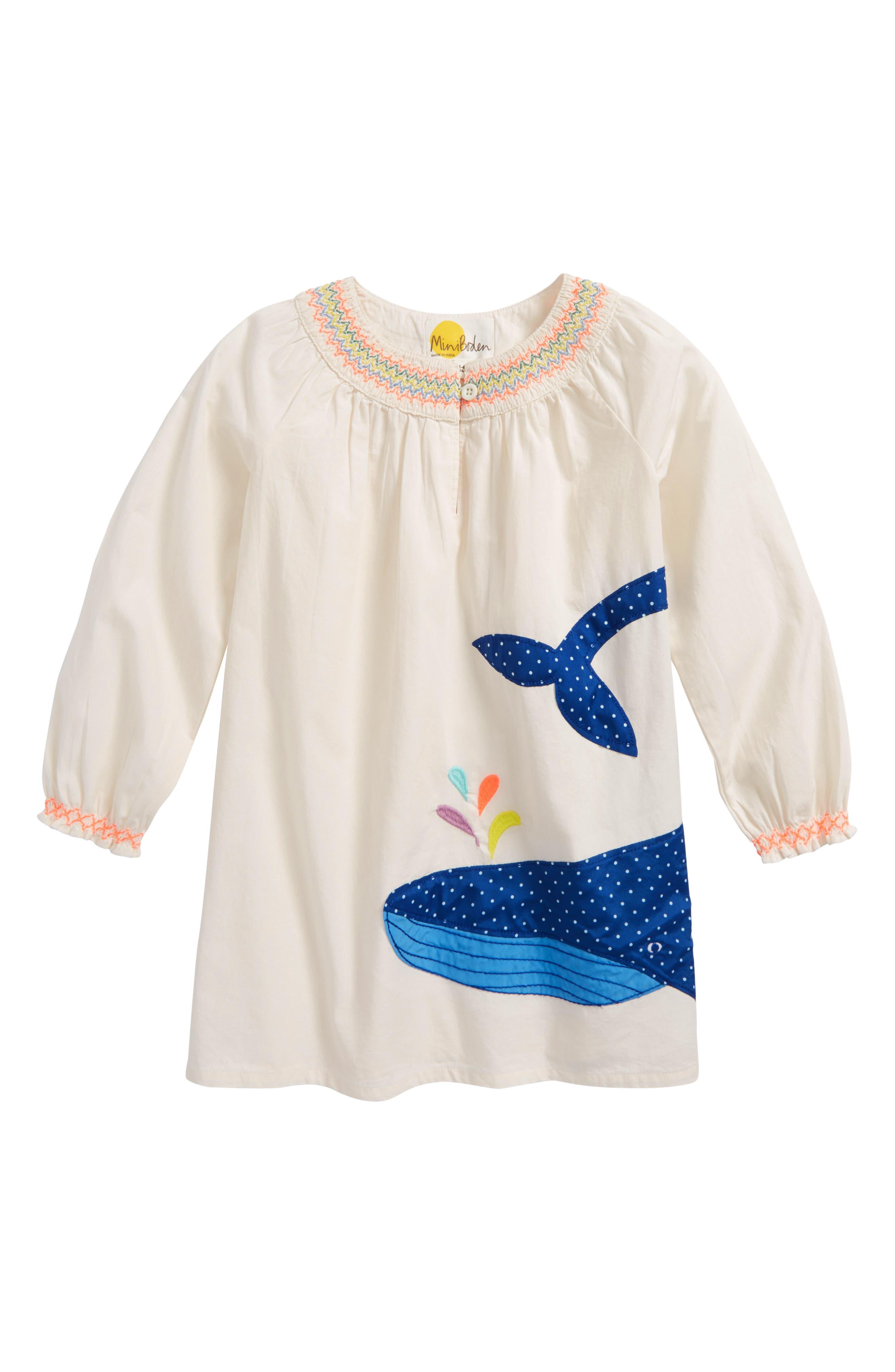 Mini Boden Whale Appliqué Kaftan (Toddler Girls, Little Girls & Big Girls)