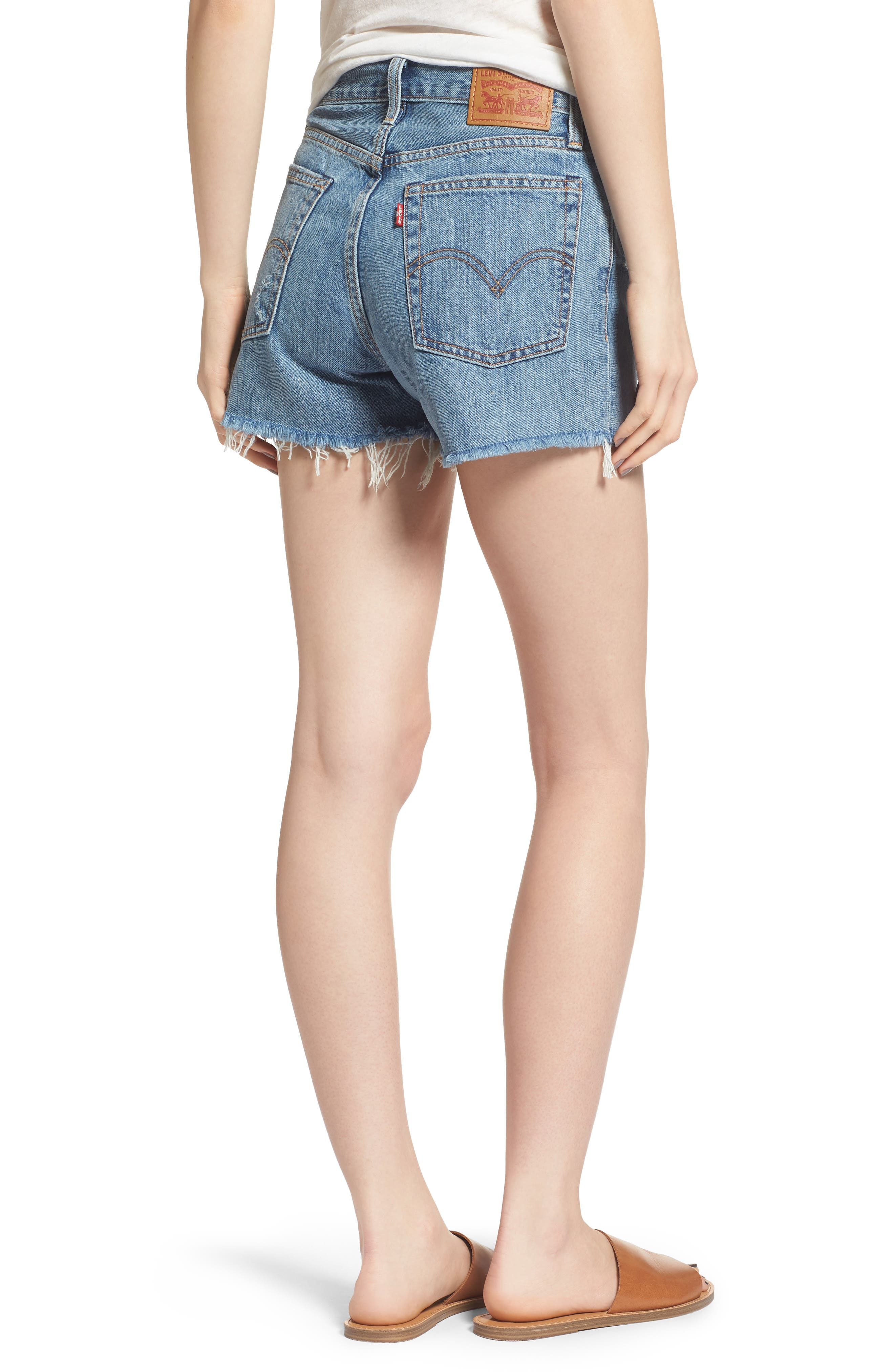 Wedgie High Waist Cutoff Denim Shorts,                             Alternate thumbnail 2, color,                             Blue Your Mind