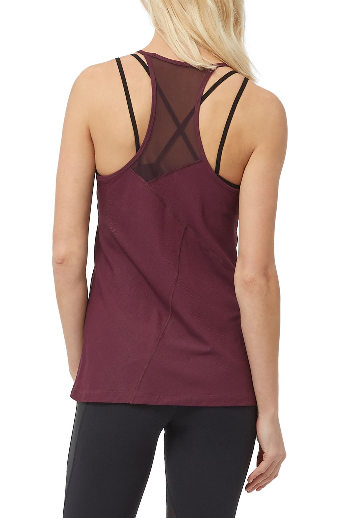 Chakra Ribbed Tank,                             Alternate thumbnail 2, color,                             Oxblood