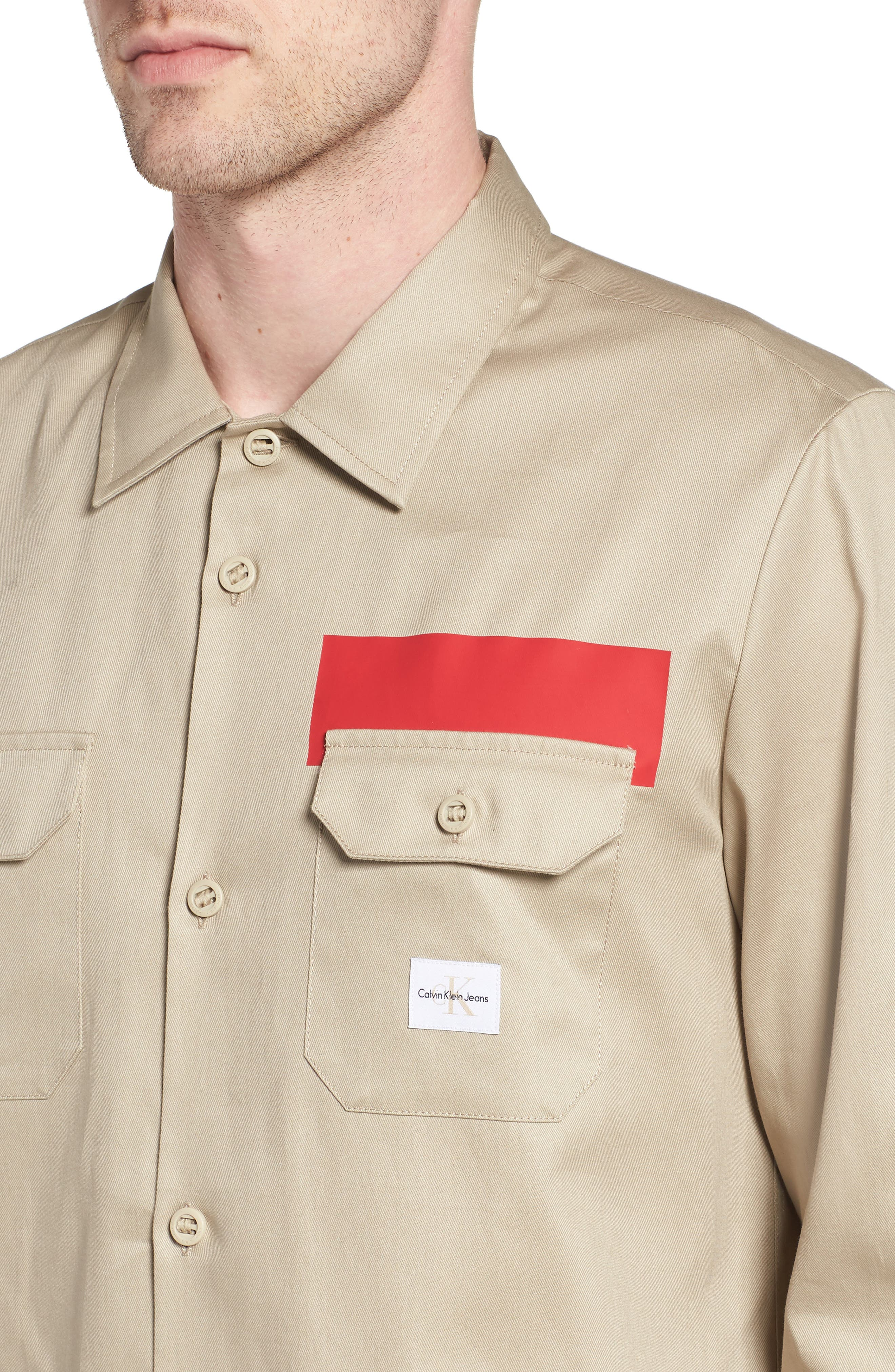 Placement Stripe Utility Shirt,                             Alternate thumbnail 4, color,                             Marble Canyon