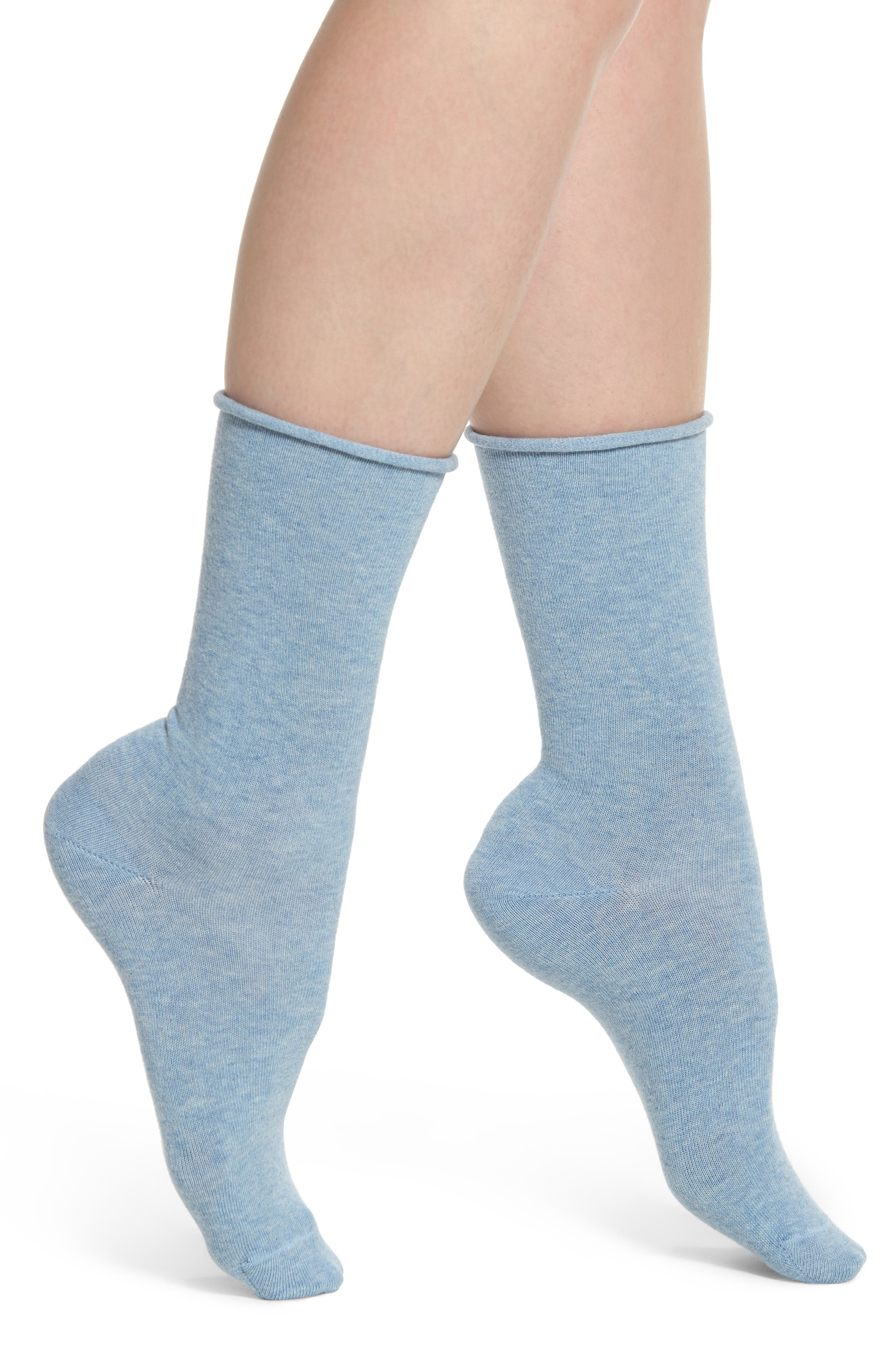 Everyday Roll Top Socks,                         Main,                         color, Blue Chambray
