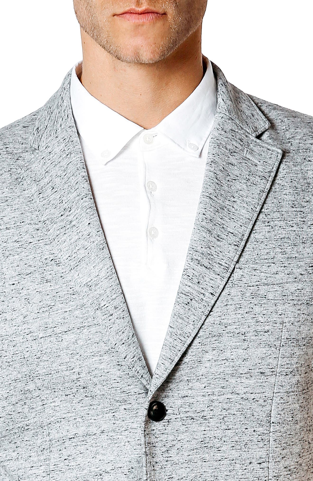 Tech Ponte Trim Fit Blazer,                             Alternate thumbnail 6, color,                             Grey Heather / Blue