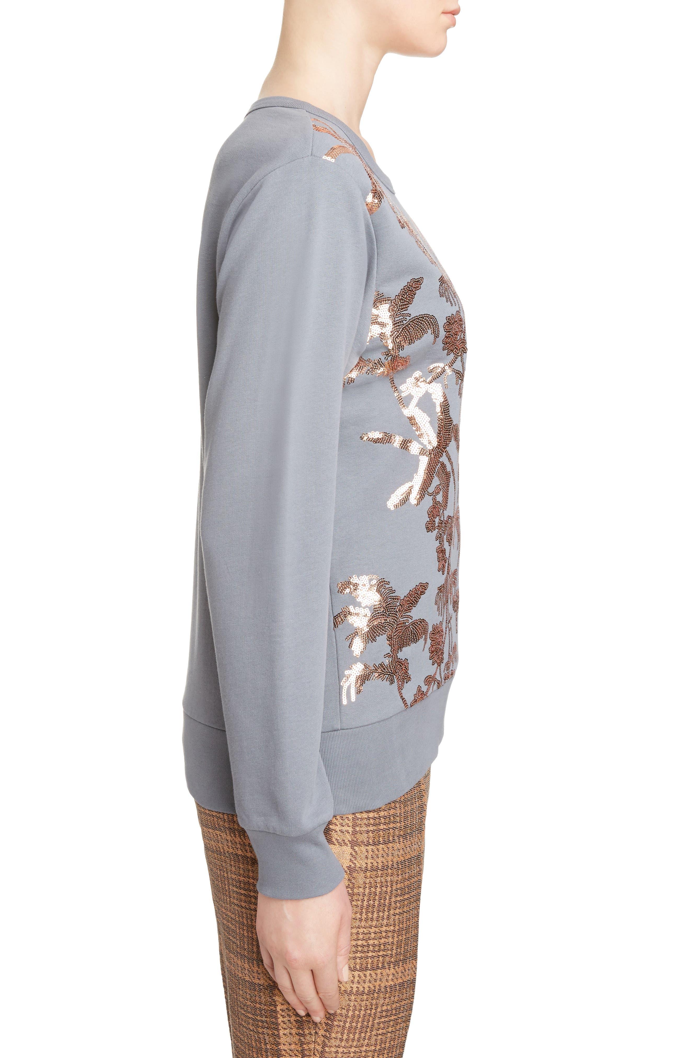 Sequin Embellished Sweatshirt,                             Alternate thumbnail 3, color,                             Grey