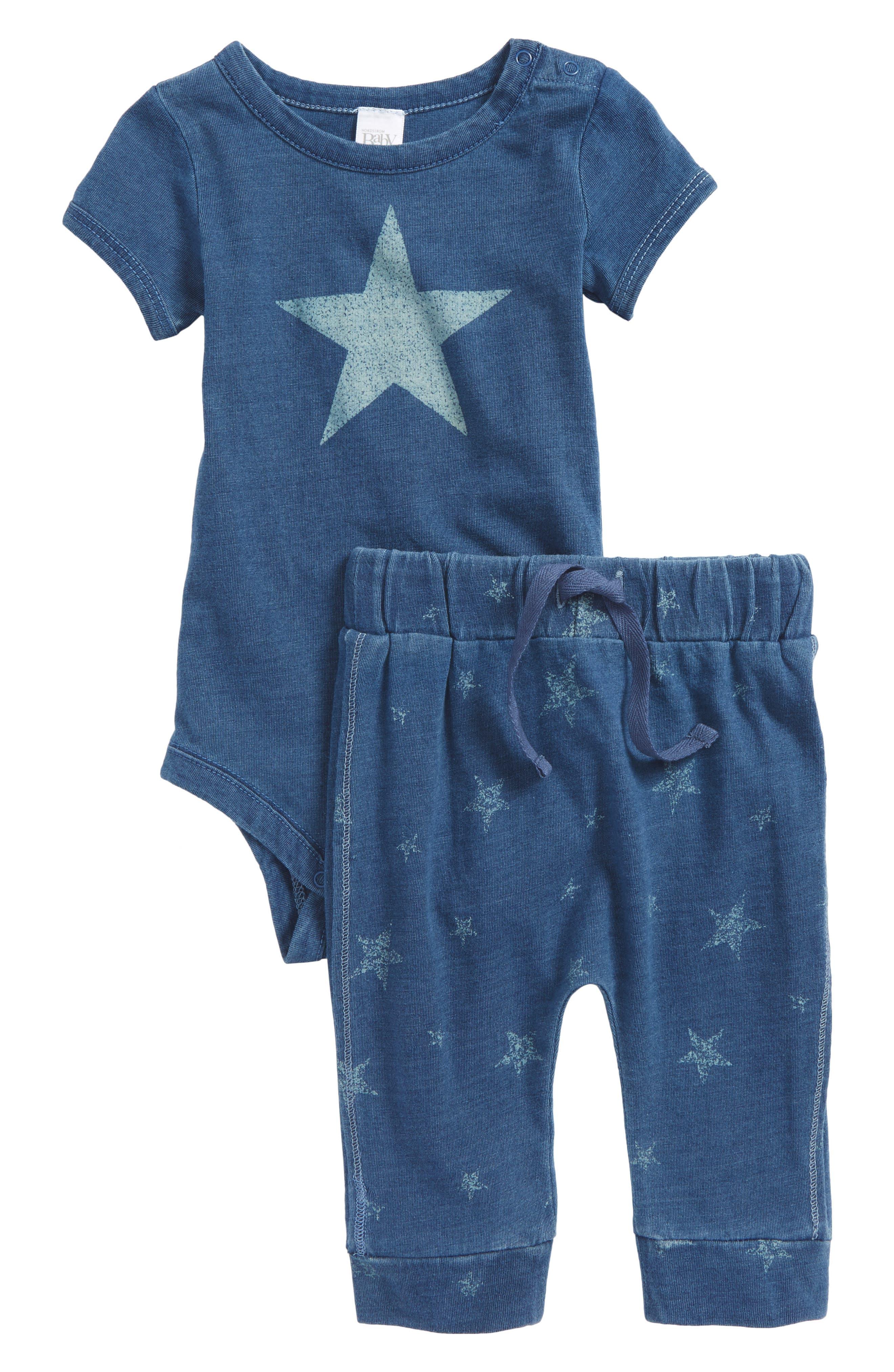Star Bodysuit & Pants Set,                             Main thumbnail 1, color,                             Blue Indigo Star