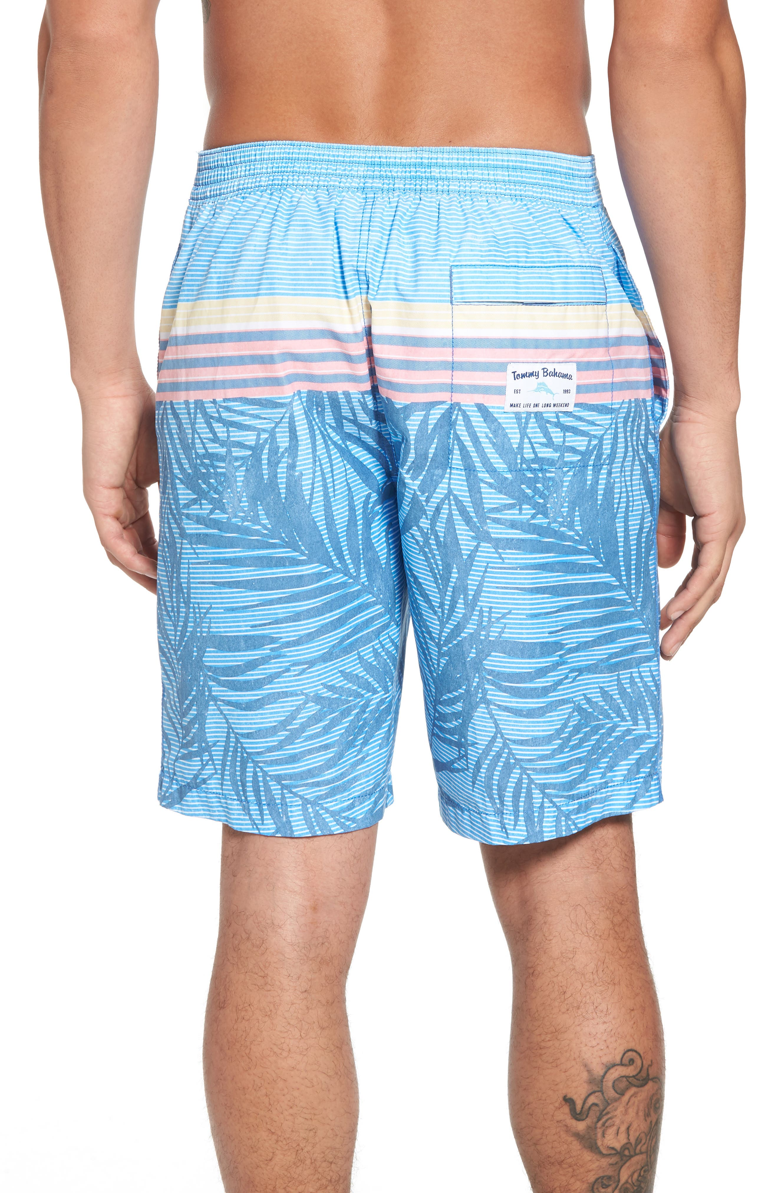 Baja Fronds & Stripes Board Shorts,                             Alternate thumbnail 2, color,                             Dockside Blue