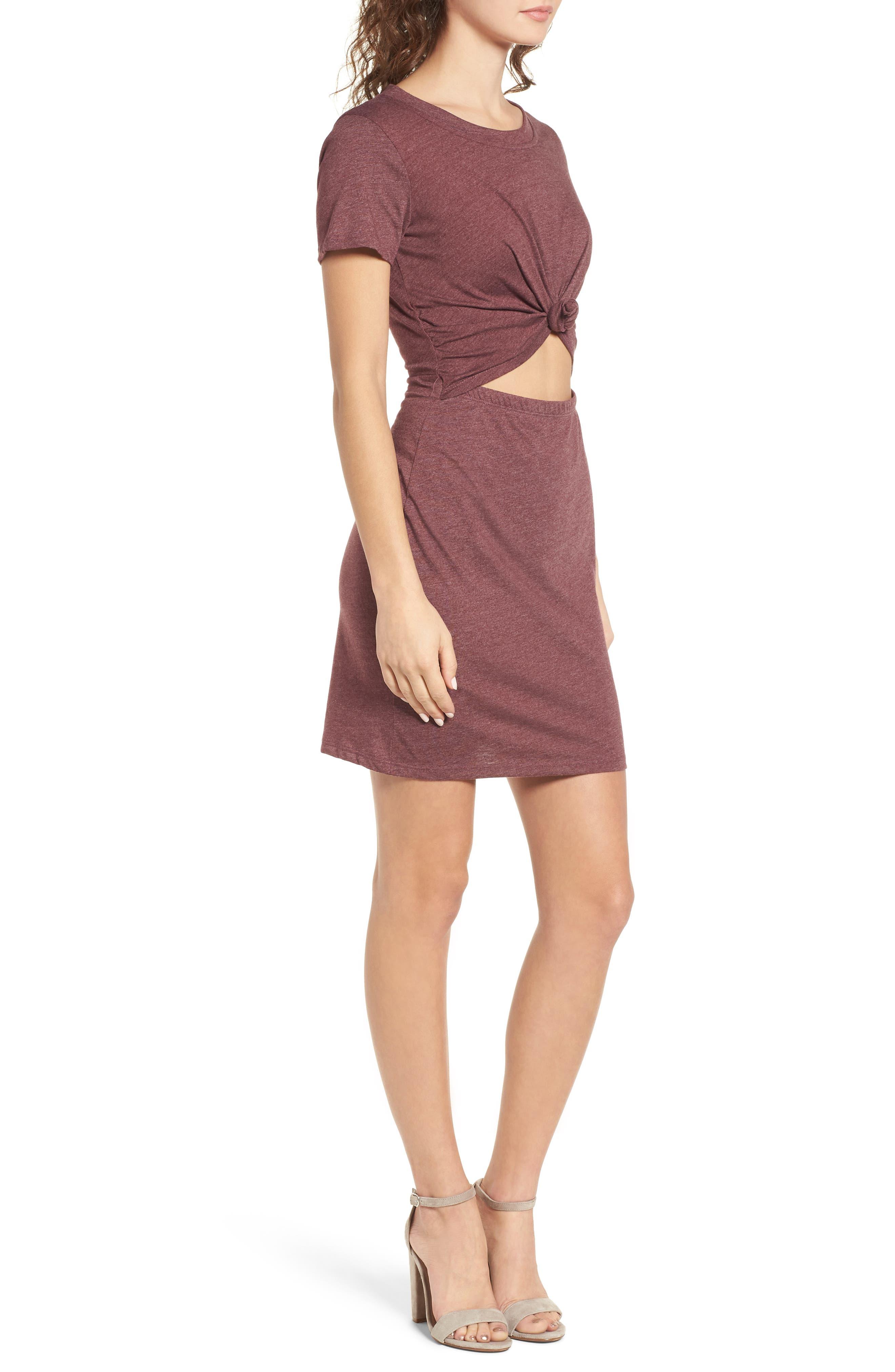 Knot Front Cutout T-Shirt Dress,                             Alternate thumbnail 3, color,                             Burgundy