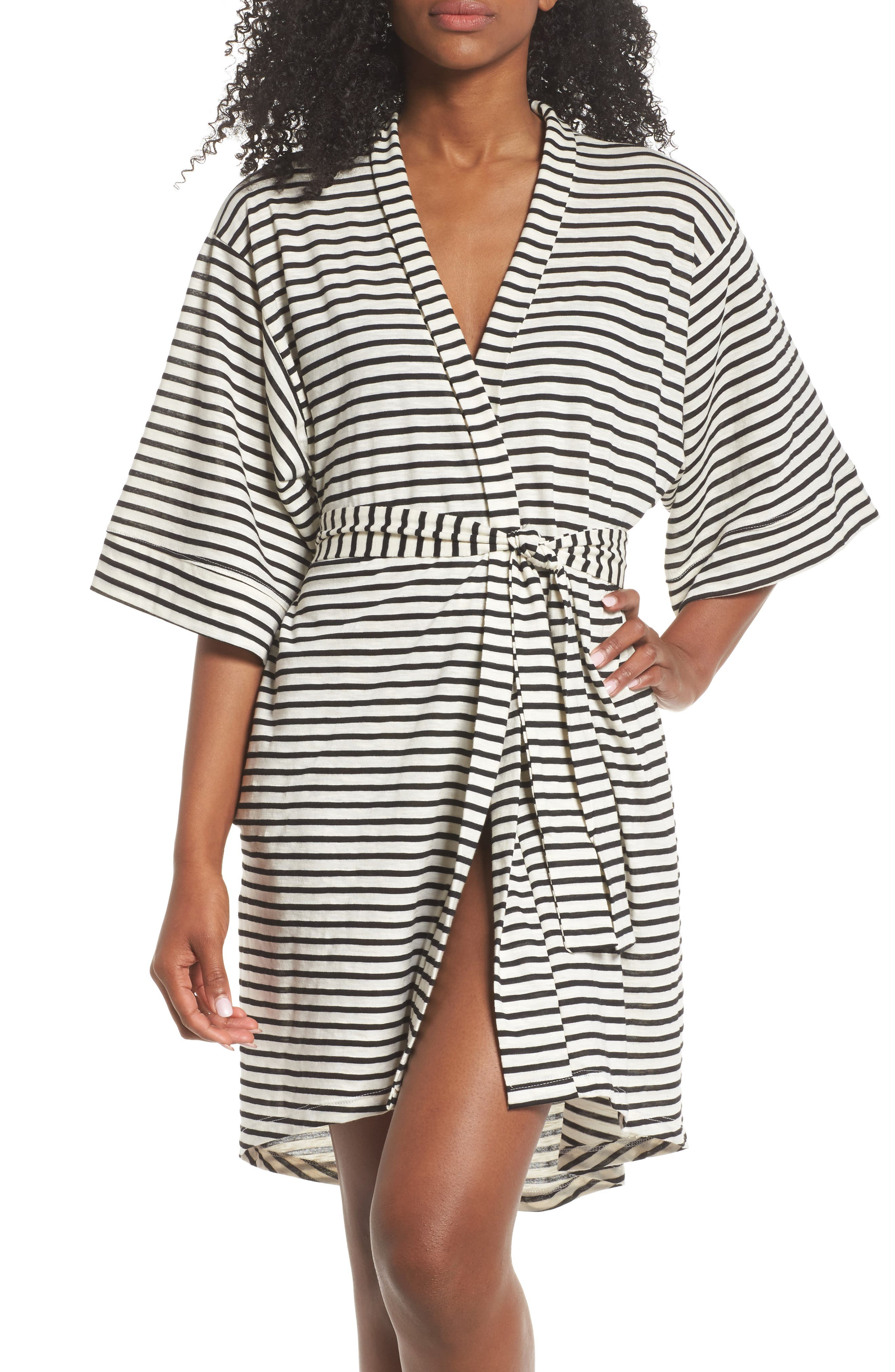 Florence Short Robe,                         Main,                         color, Pearl Stripe