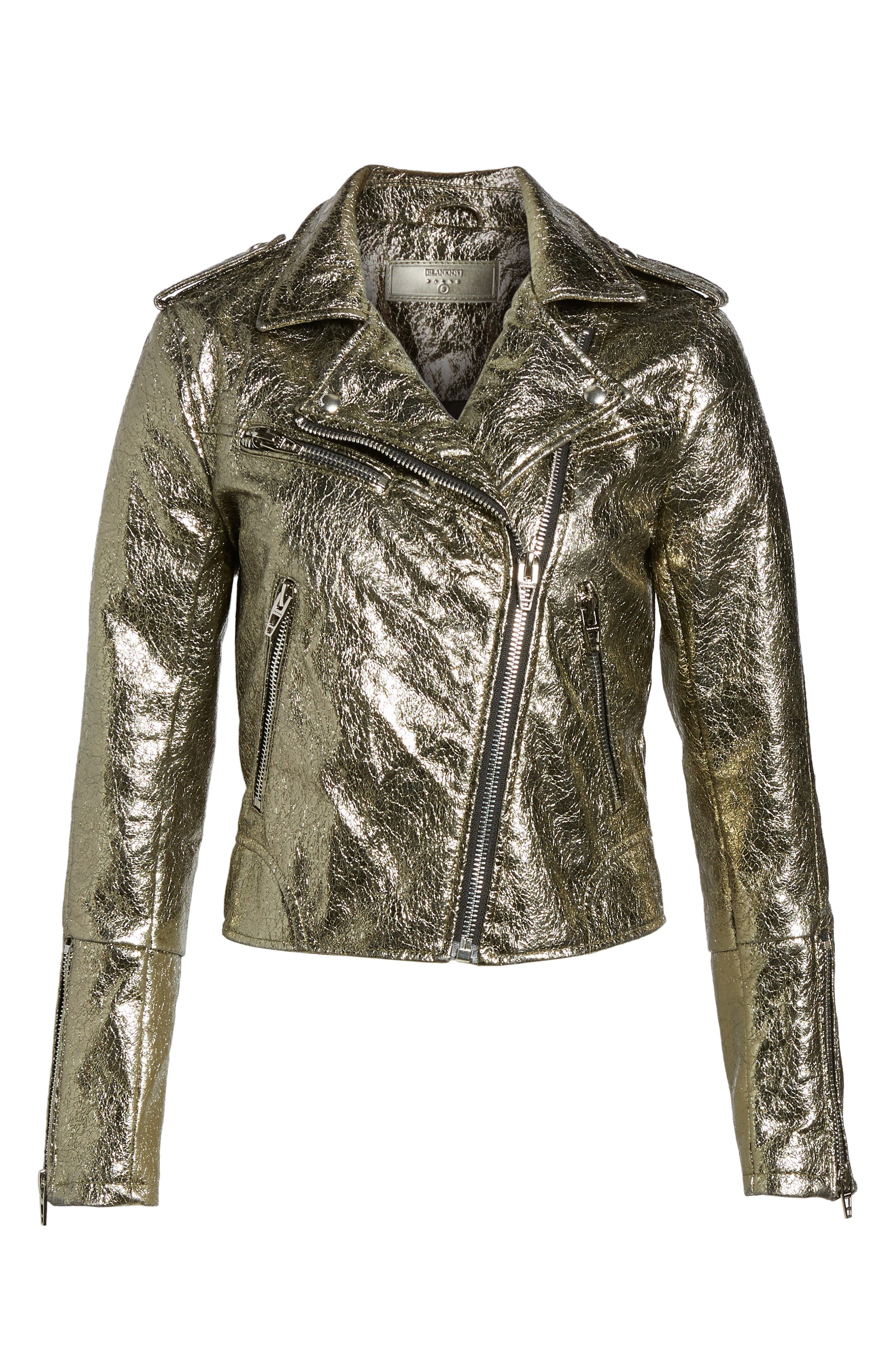 Metallic Faux Leather Moto Jacket,                             Alternate thumbnail 7, color,                             Turning Heads