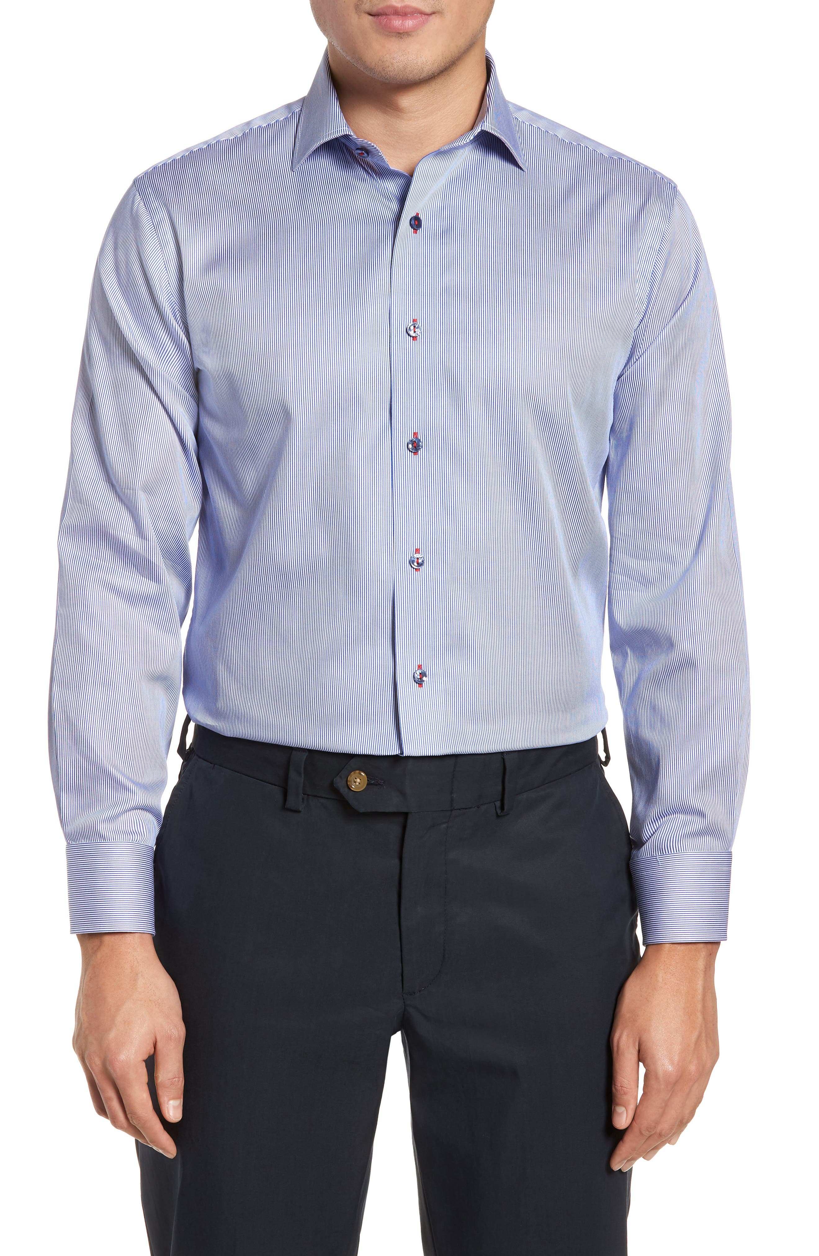 Trim Fit Textured Stripe Dress Shirt,                         Main,                         color, Navy/ White