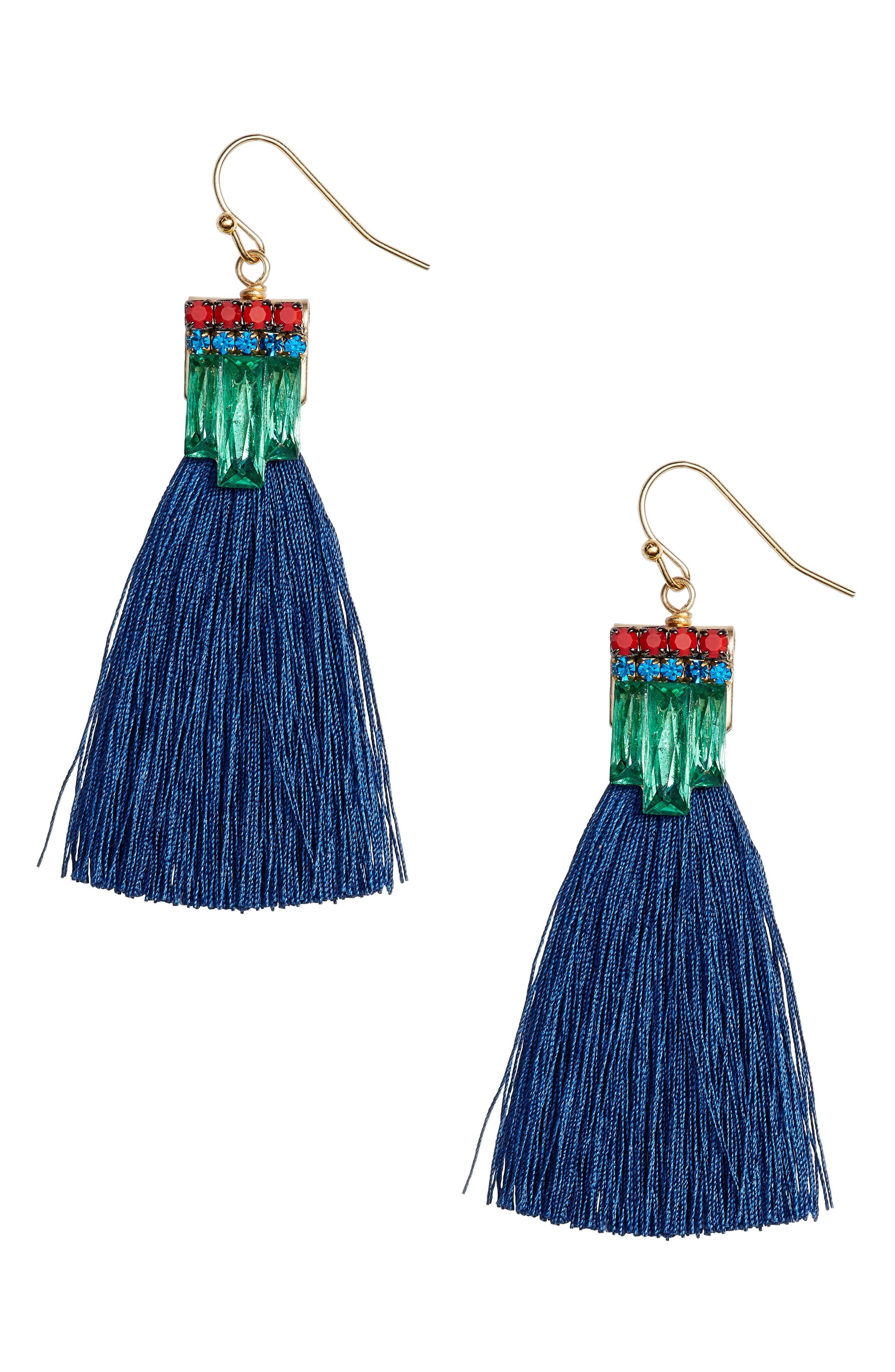 Sandy Hyun Stone Tassel Drop Earrings