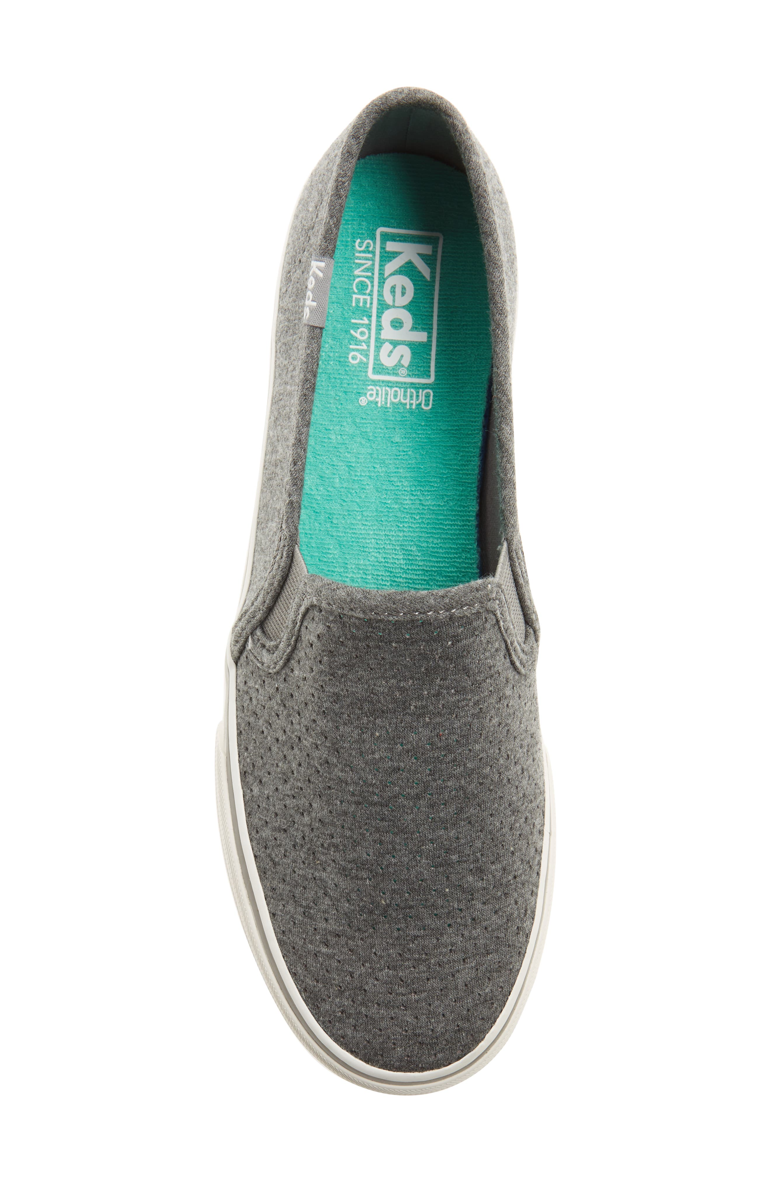 Double Decker Perforated Slip-On Sneaker,                             Alternate thumbnail 5, color,                             Charcoal