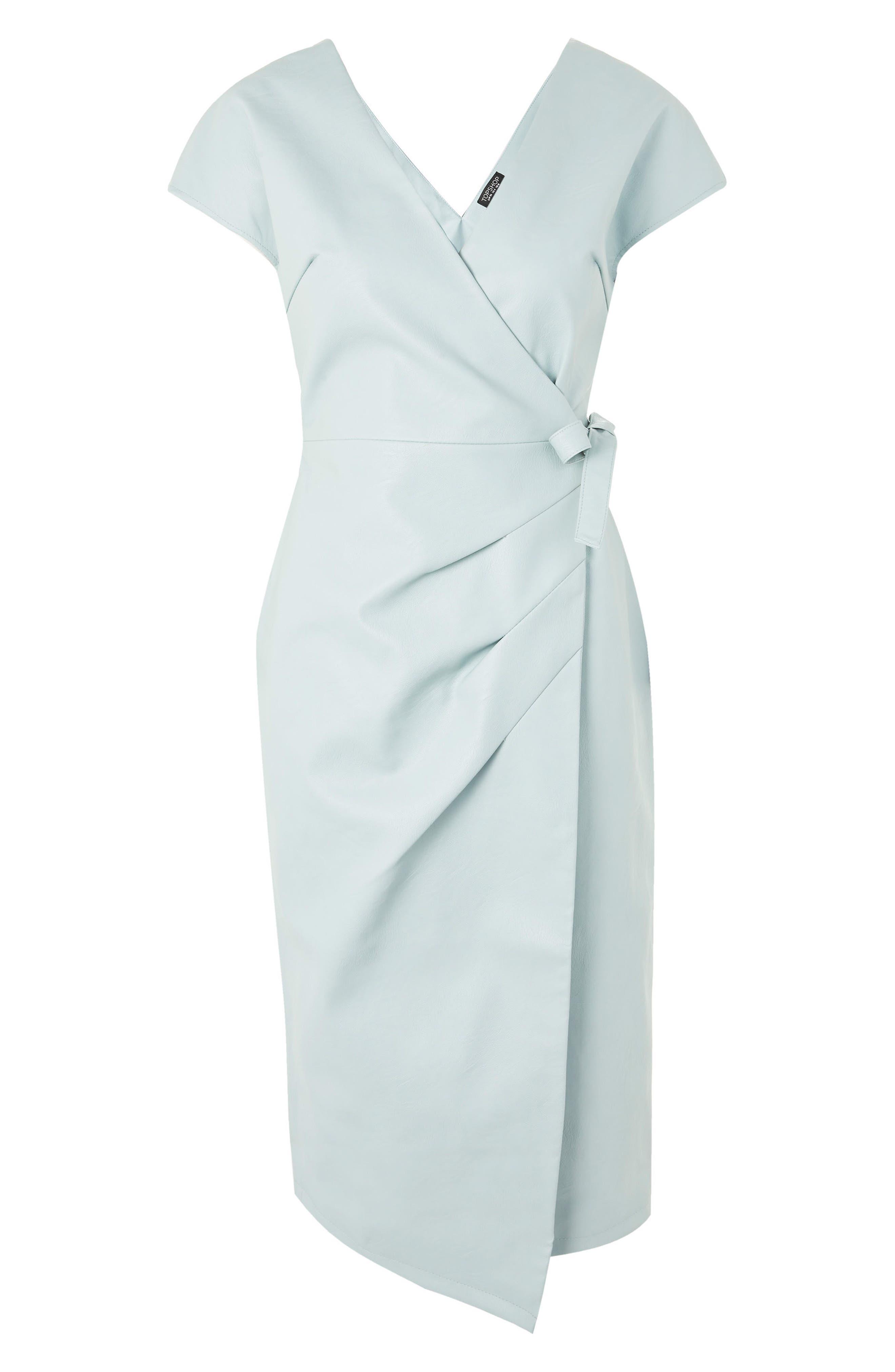 Wrap Midi Dress,                             Alternate thumbnail 3, color,                             Mint