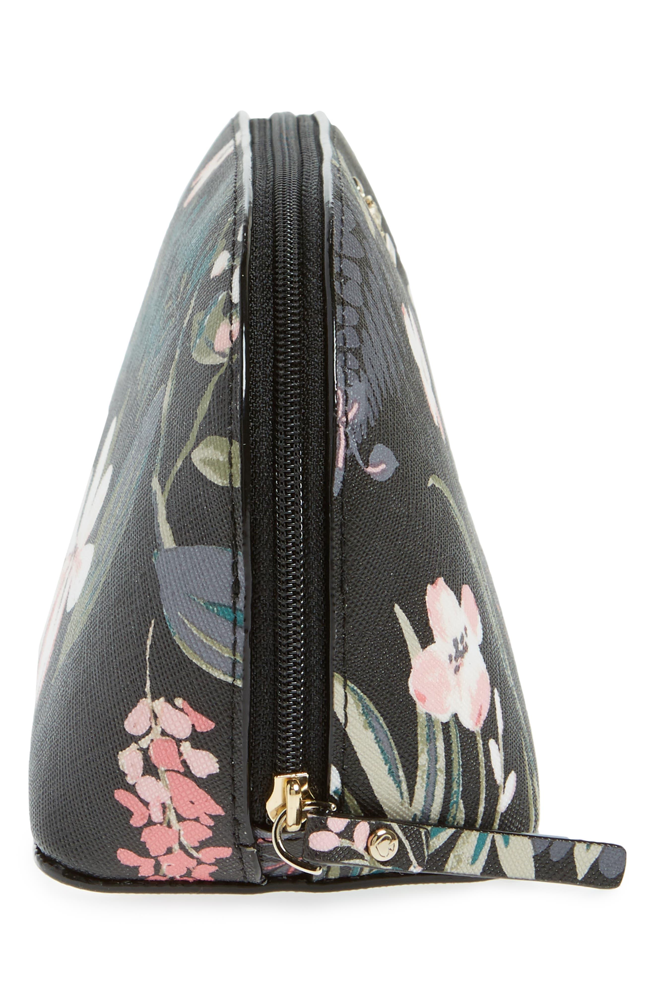 cameron street - small botanical abalene faux leather cosmetics case,                             Alternate thumbnail 4, color,                             Black Multi