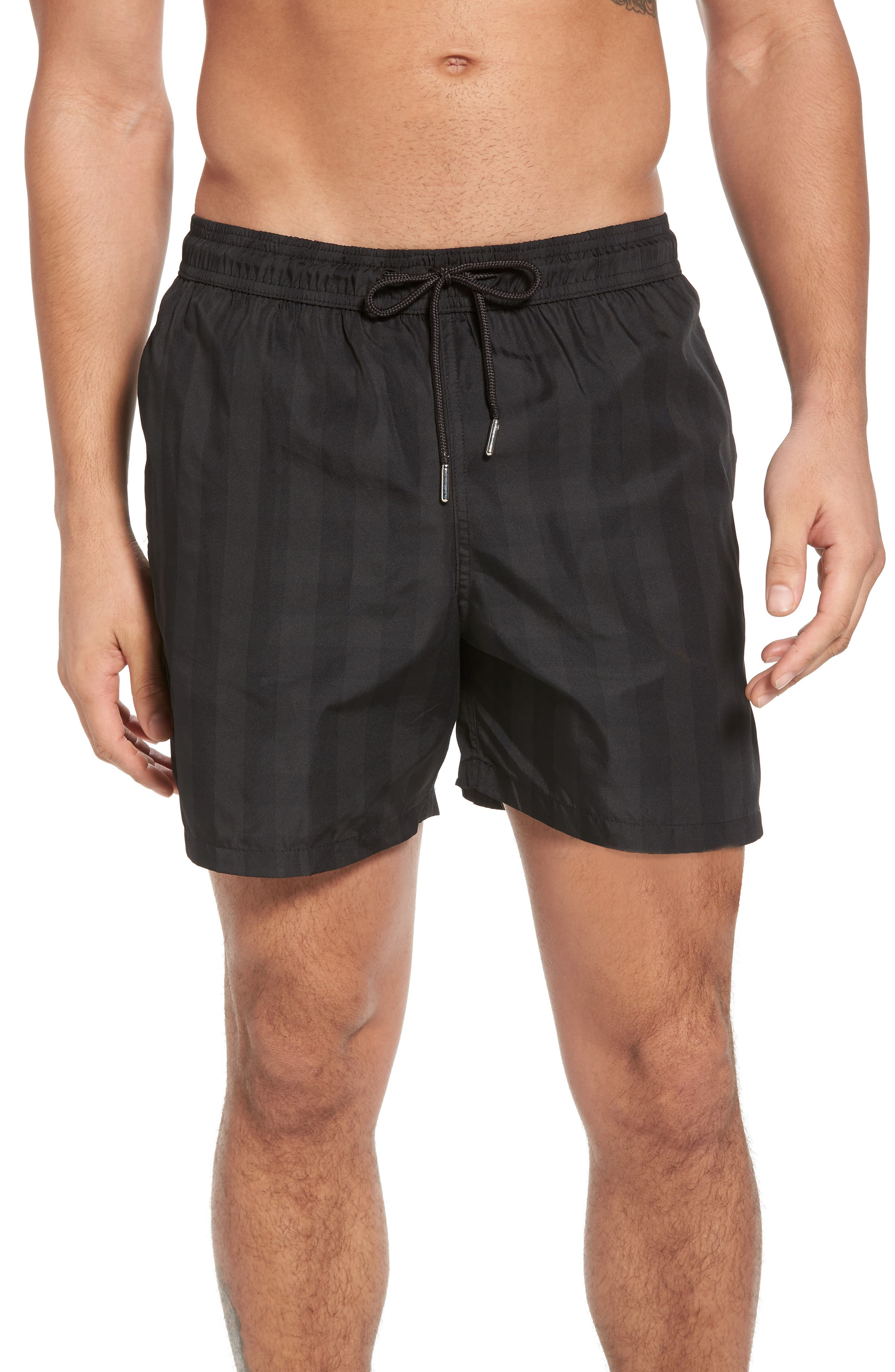 Trim Fit Swim Shorts,                             Main thumbnail 1, color,                             Black Plaid