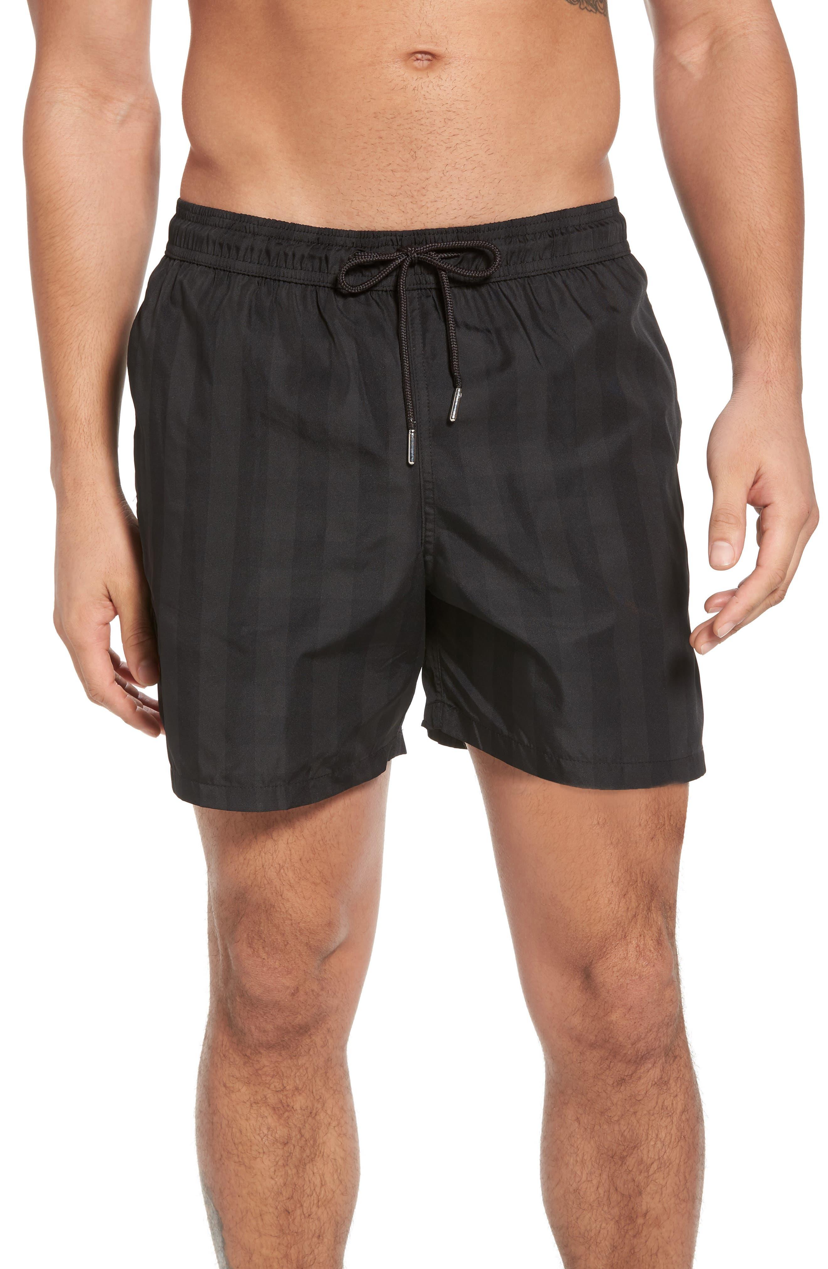Trim Fit Swim Shorts,                         Main,                         color, Black Plaid