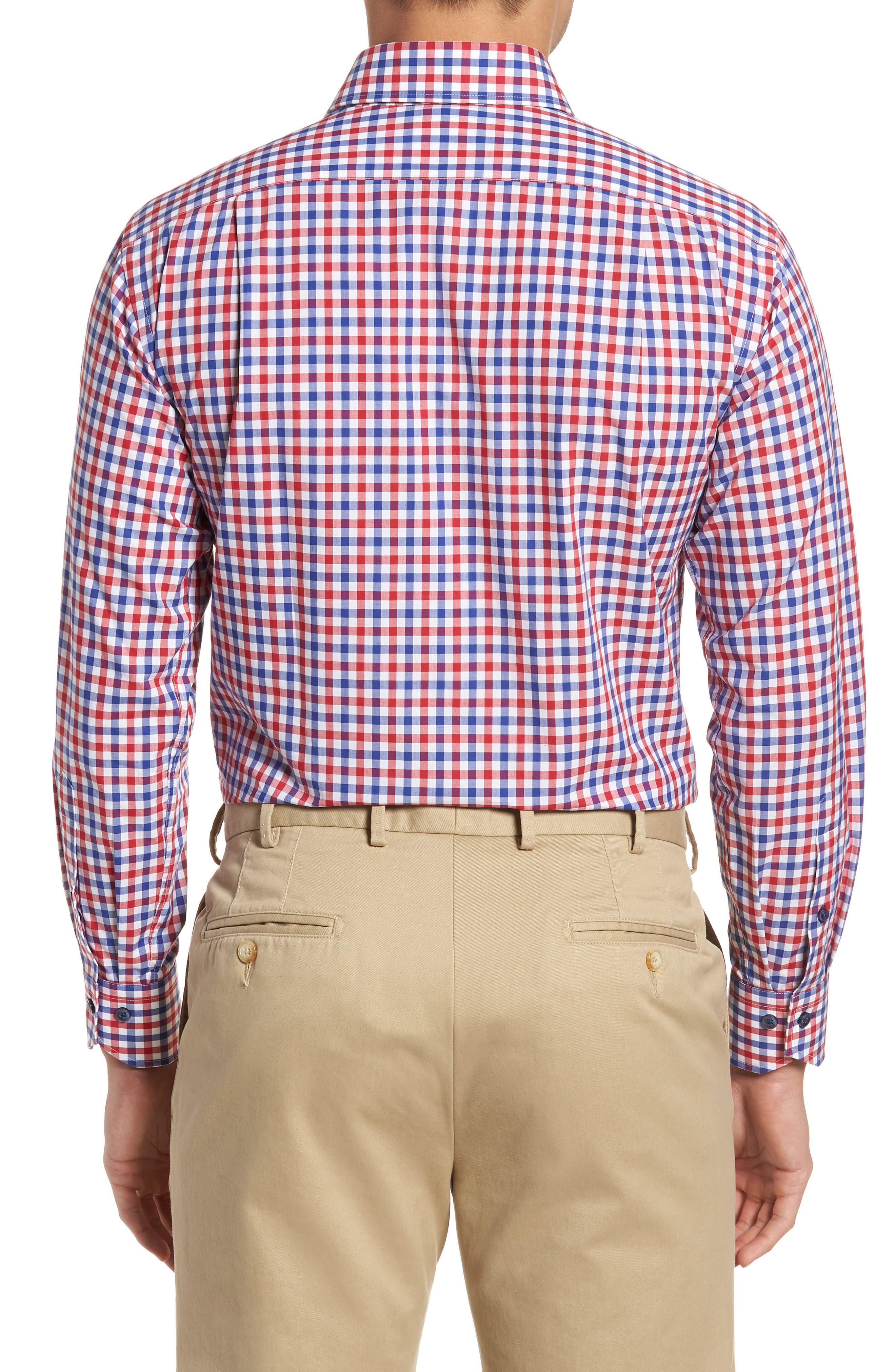 Trim Fit Check Dress Shirt,                             Alternate thumbnail 3, color,                             Navy/ Red