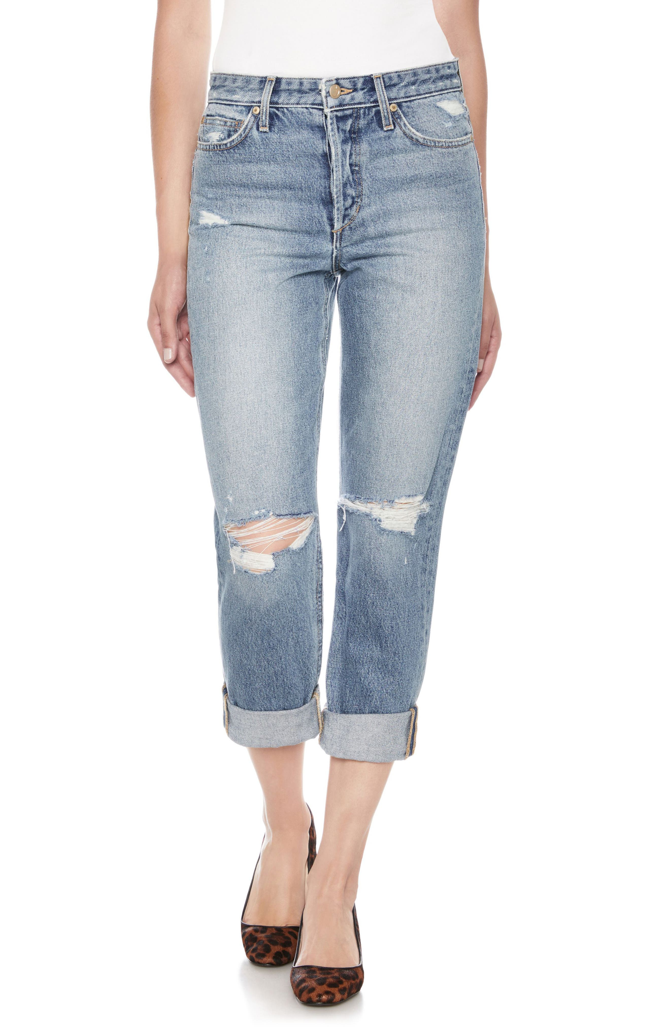 The Smith Distressed Crop Boyfriend Jeans,                             Main thumbnail 1, color,                             Weaver