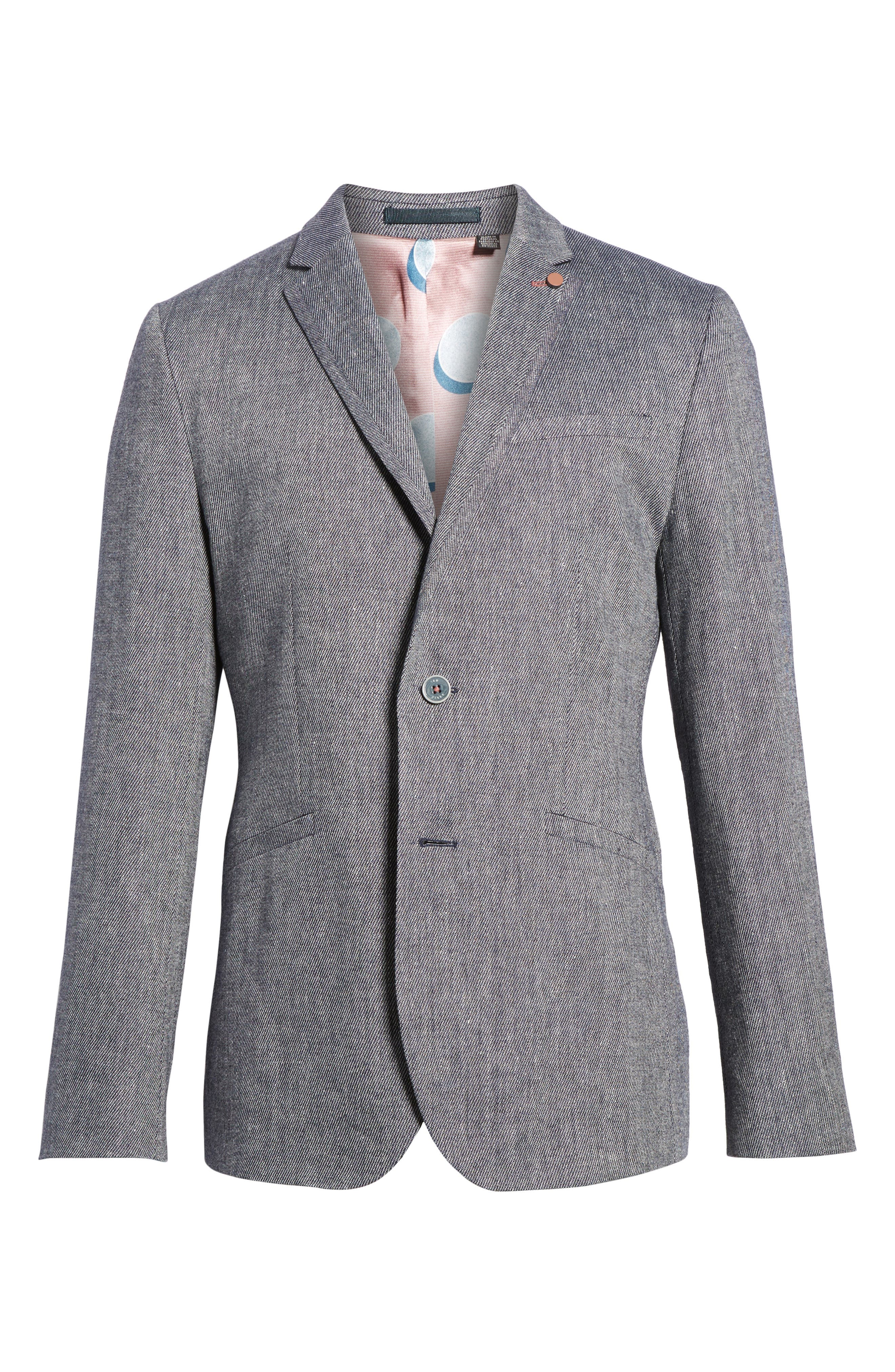 Hines Linen Blend Blazer,                             Alternate thumbnail 6, color,                             Blue