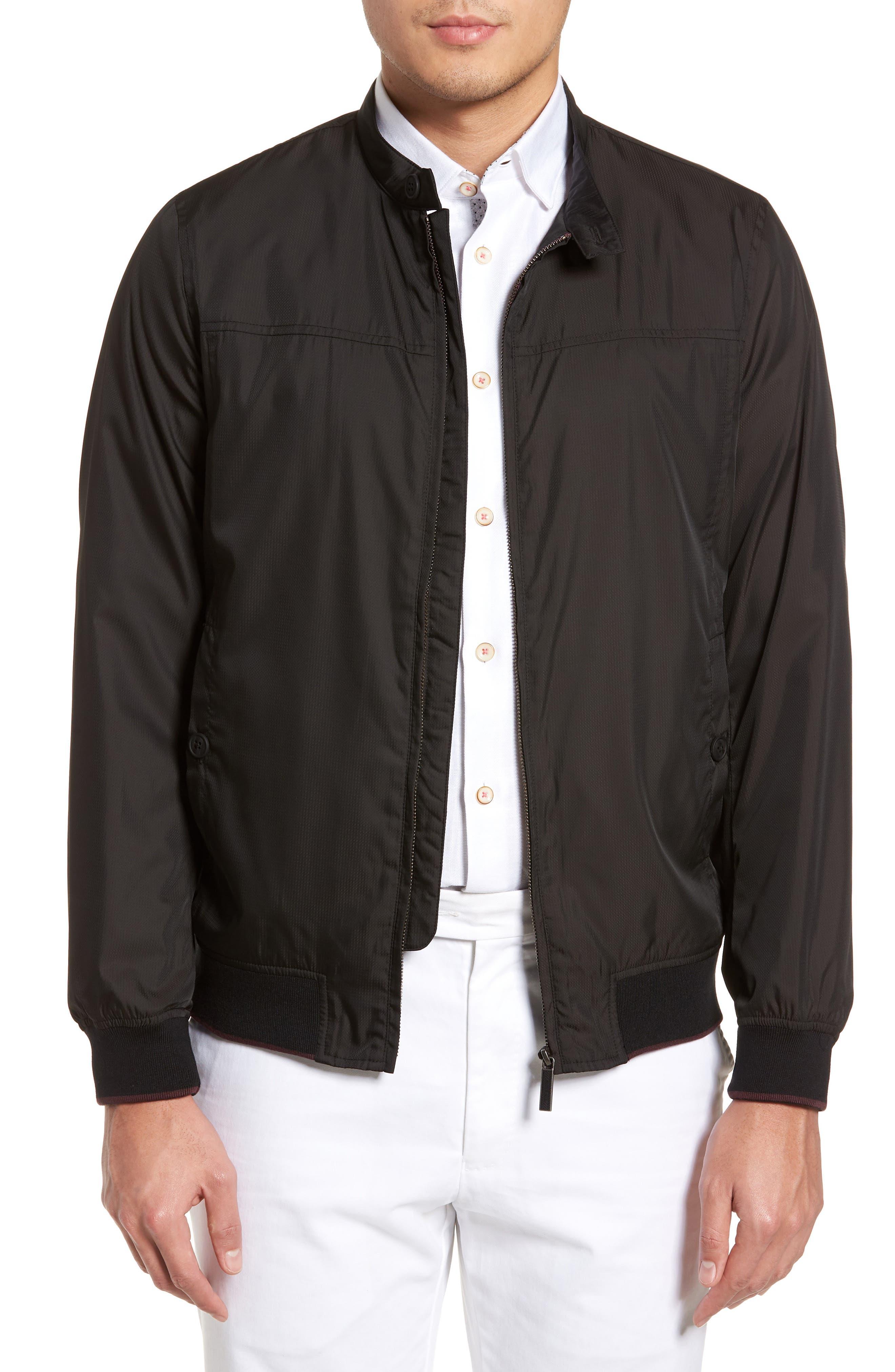 Calgar Nylon Bomber Jacket,                             Main thumbnail 1, color,                             Black