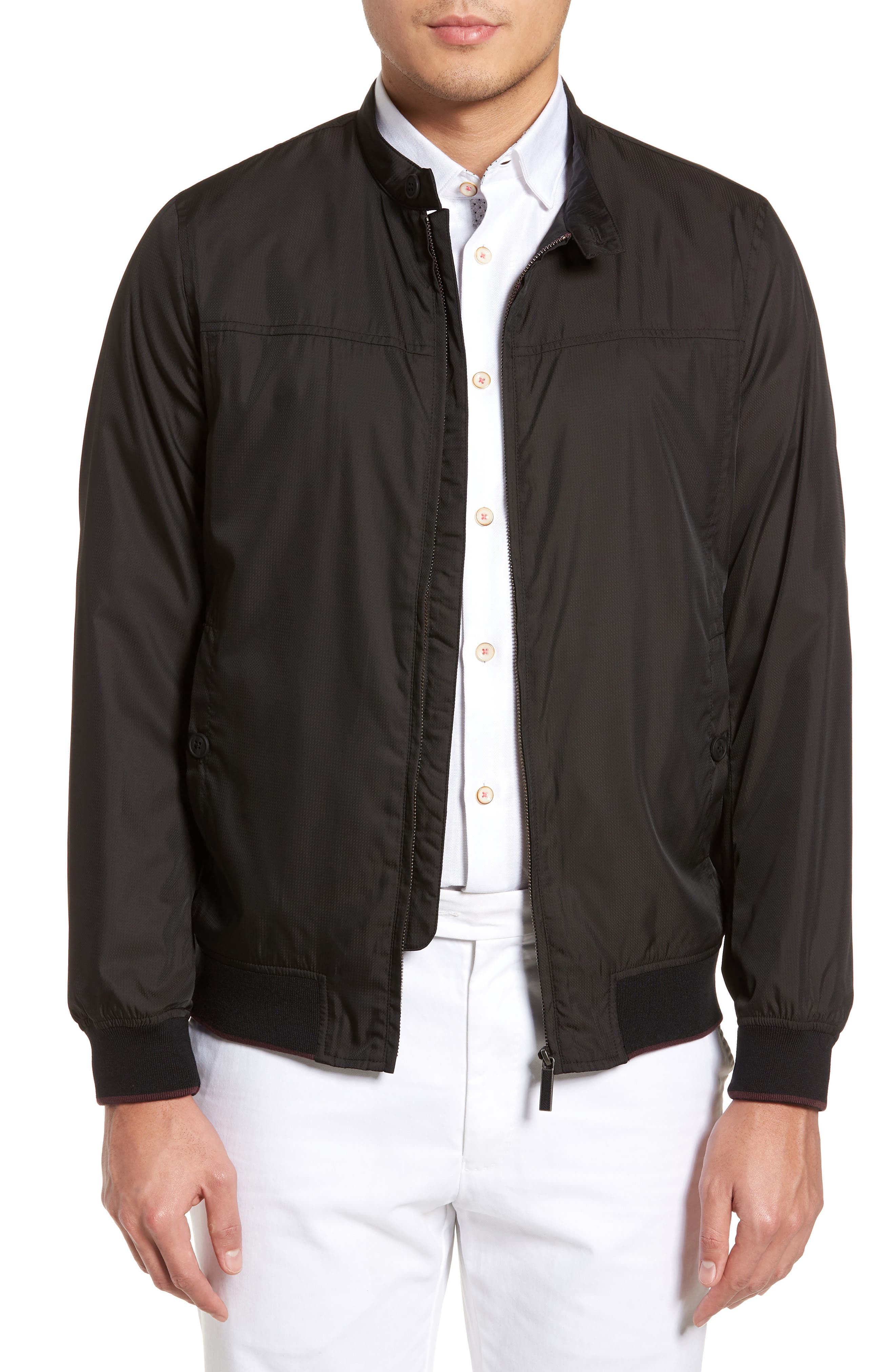 Calgar Nylon Bomber Jacket,                         Main,                         color, Black