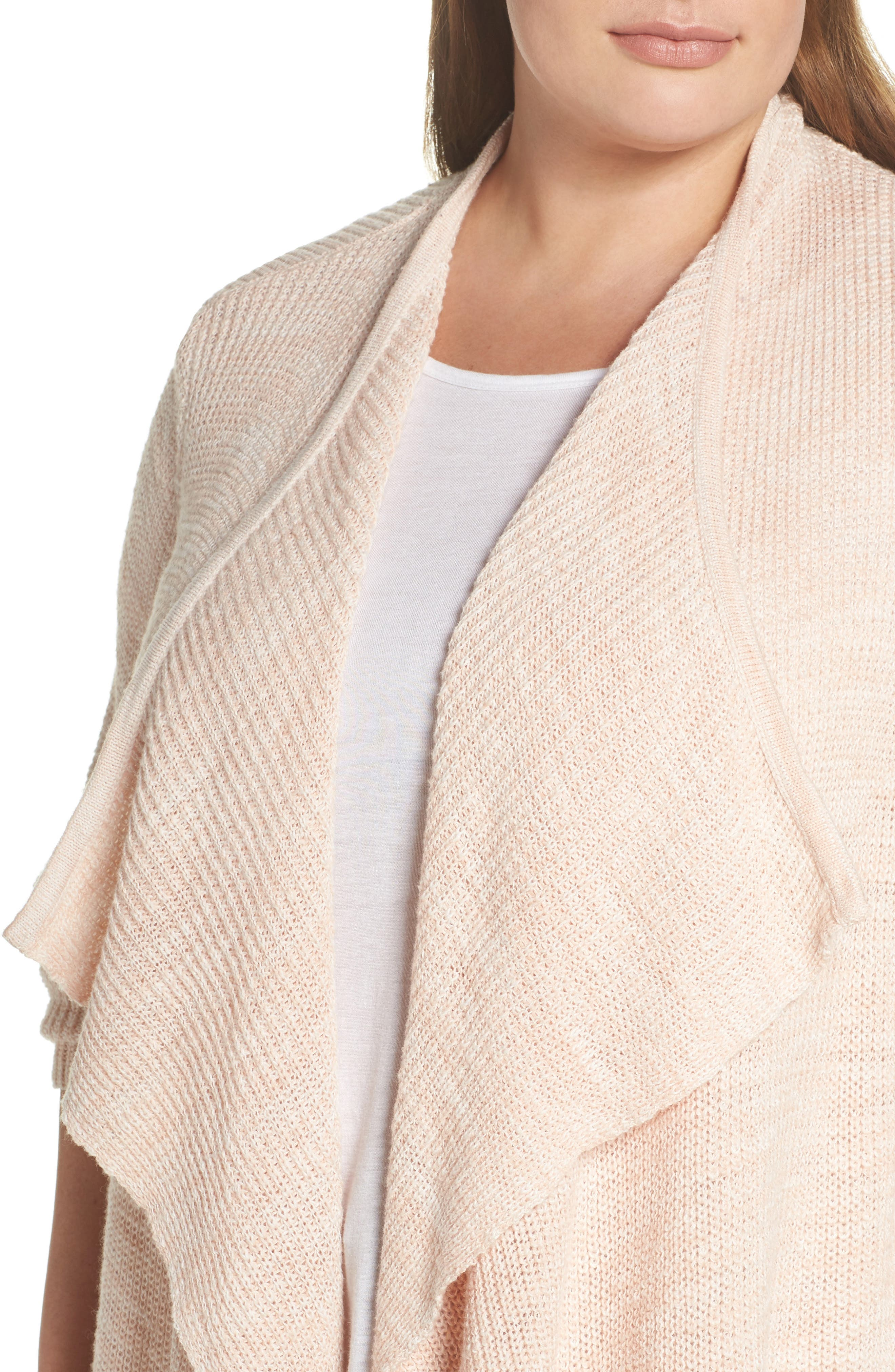 Drape Front Long Cardigan,                             Alternate thumbnail 4, color,                             Beige-Ivory Marl