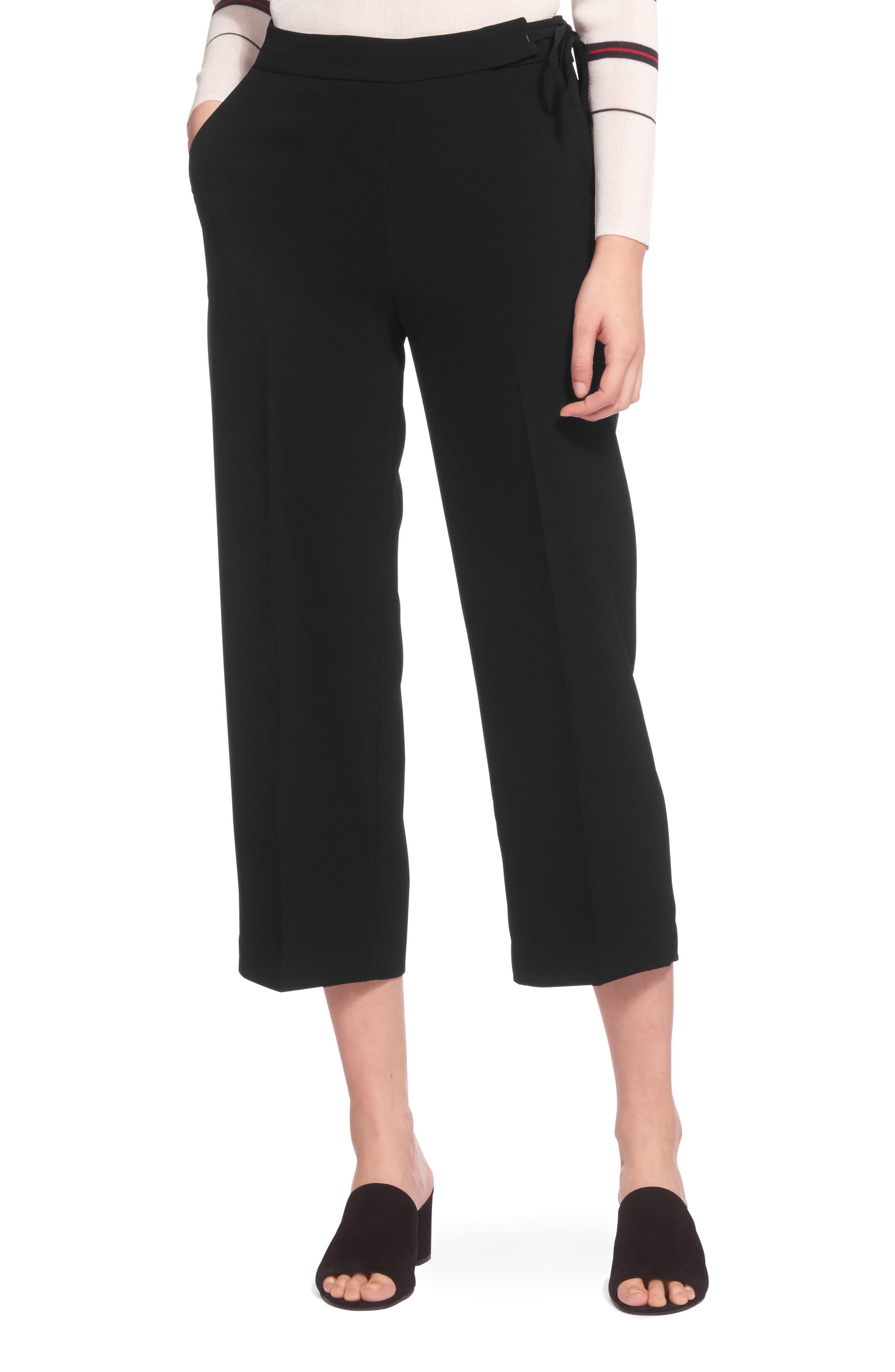 Side Tie Crop Pants,                             Main thumbnail 1, color,                             Black