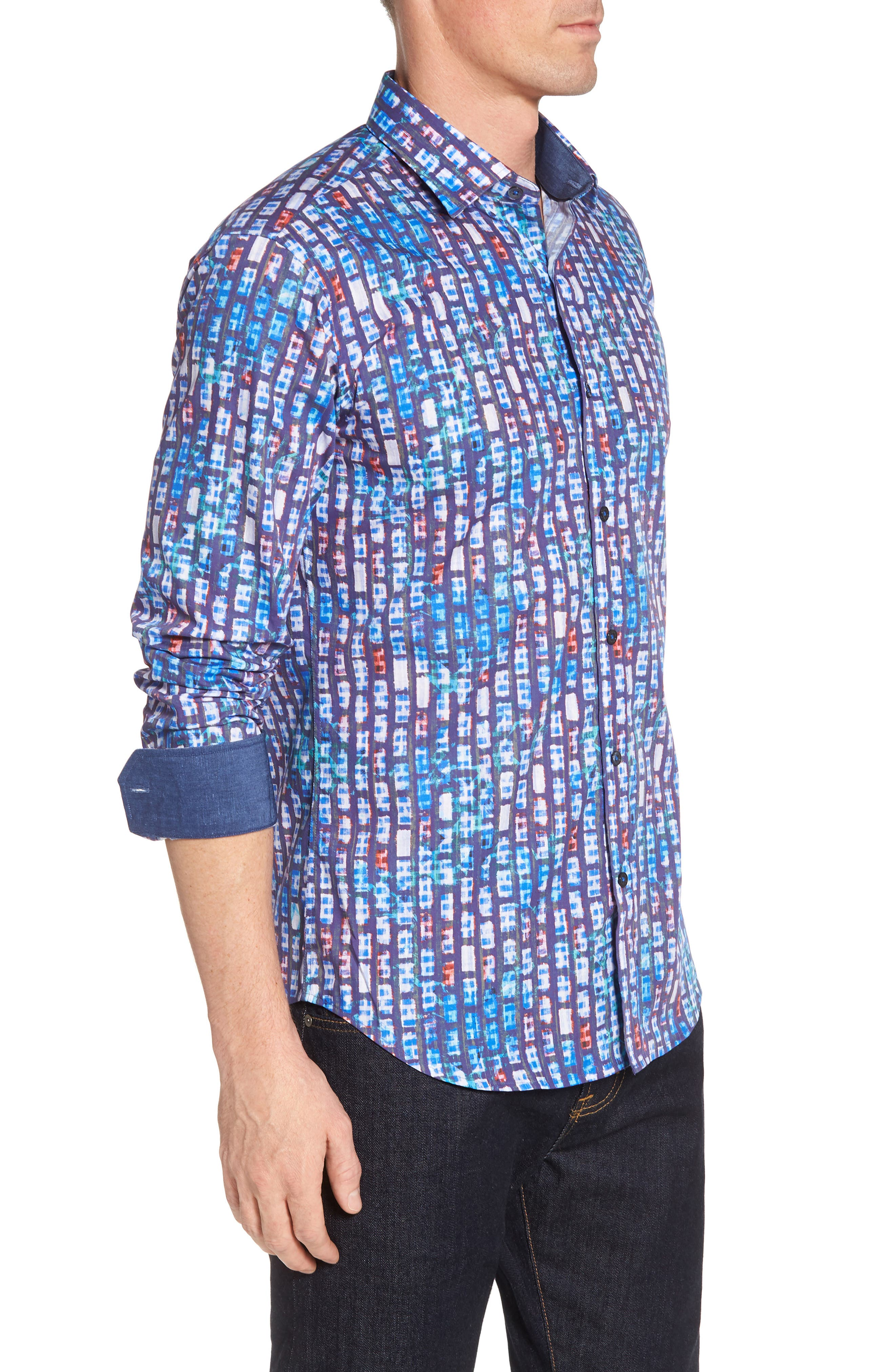 Shaped Fit Urban Abstract Sport Shirt,                             Alternate thumbnail 3, color,                             Periwinkle
