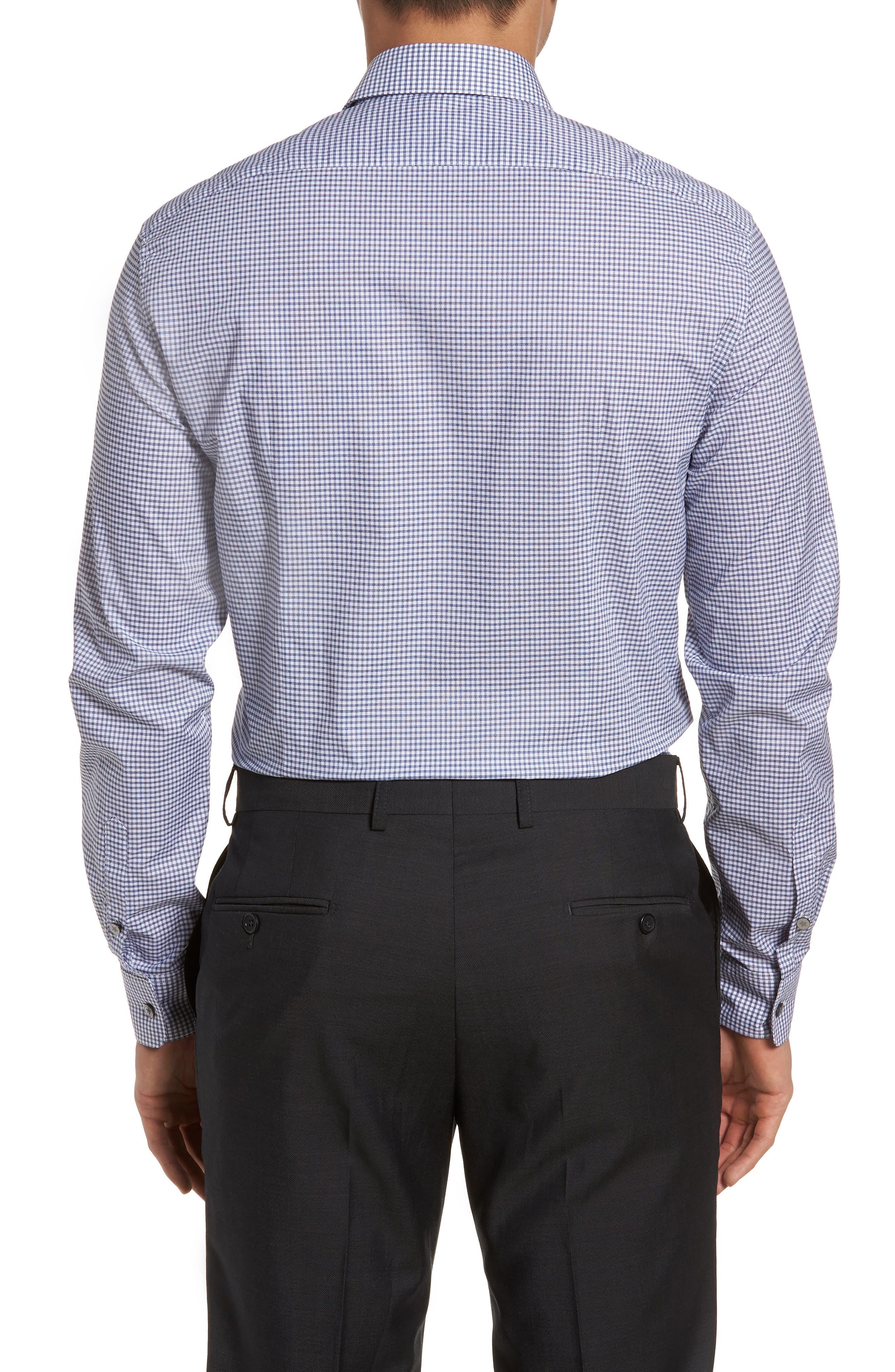 Slim Fit Stretch Check Dress Shirt,                             Alternate thumbnail 3, color,                             Indigo