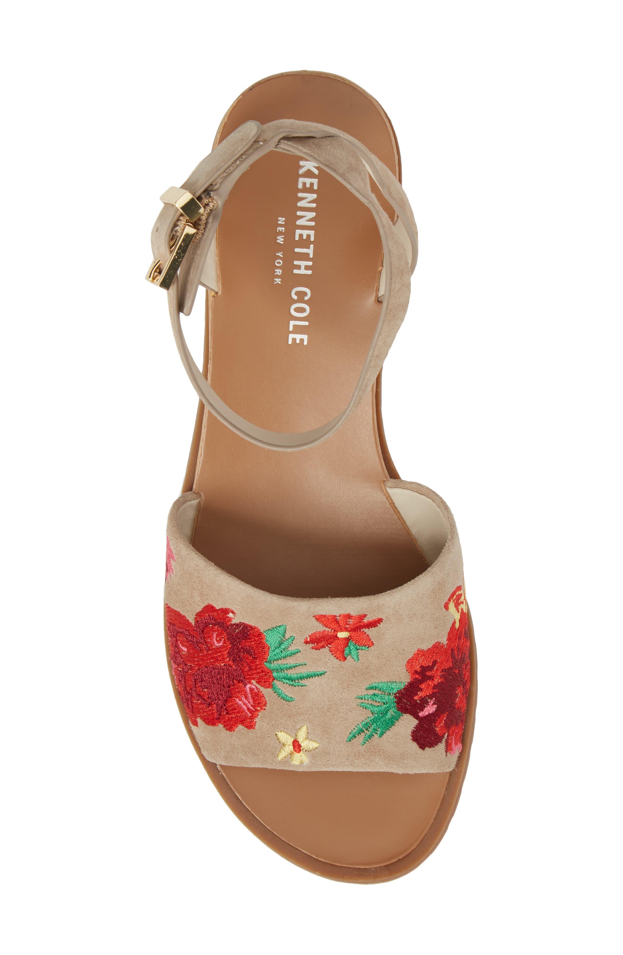Jinny Ankle Strap Sandal,                             Alternate thumbnail 5, color,                             Tan Faux Suede