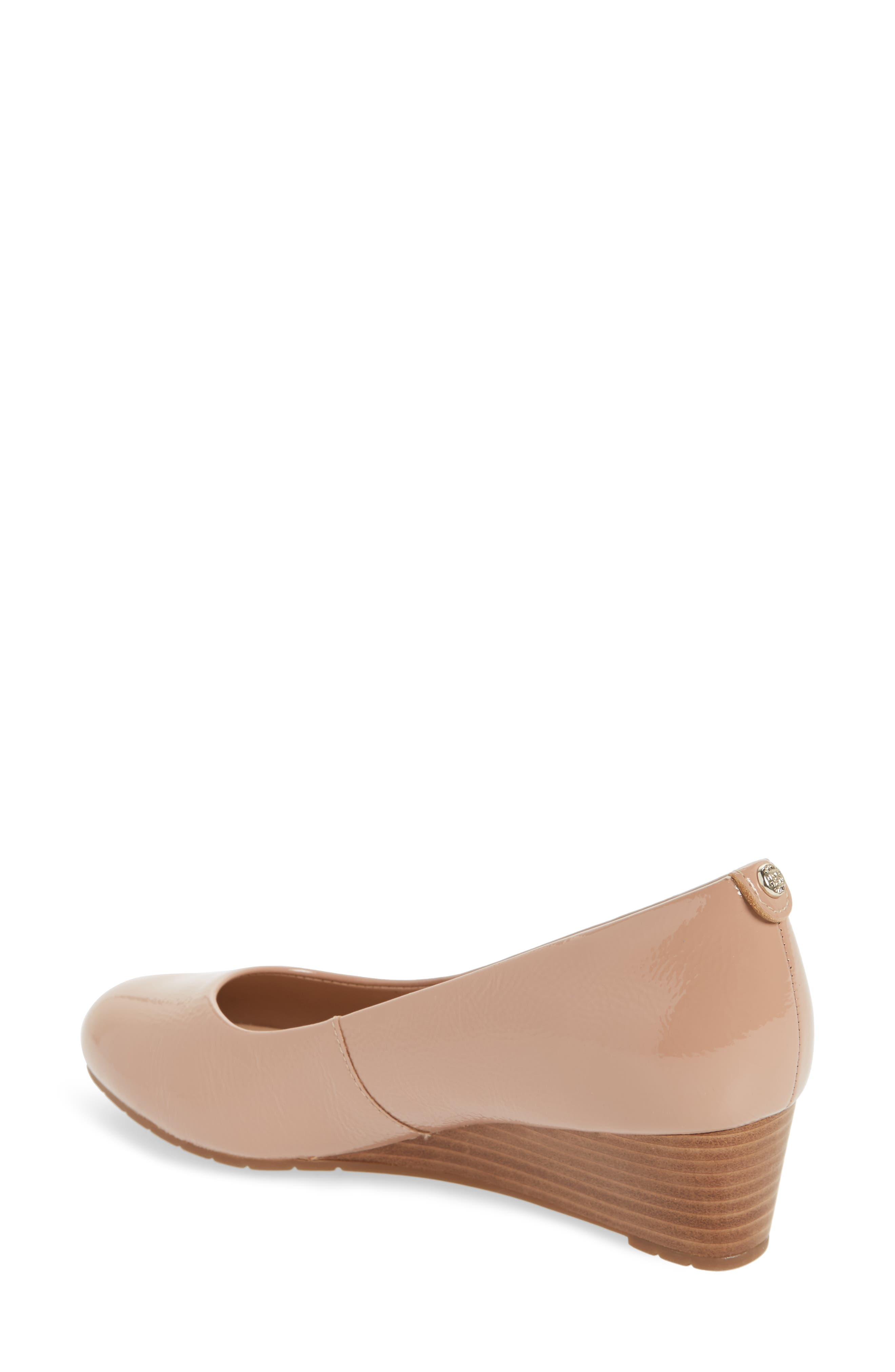 Vendra Bloom Wedge Pump,                             Alternate thumbnail 2, color,                             Beige Patent Leather