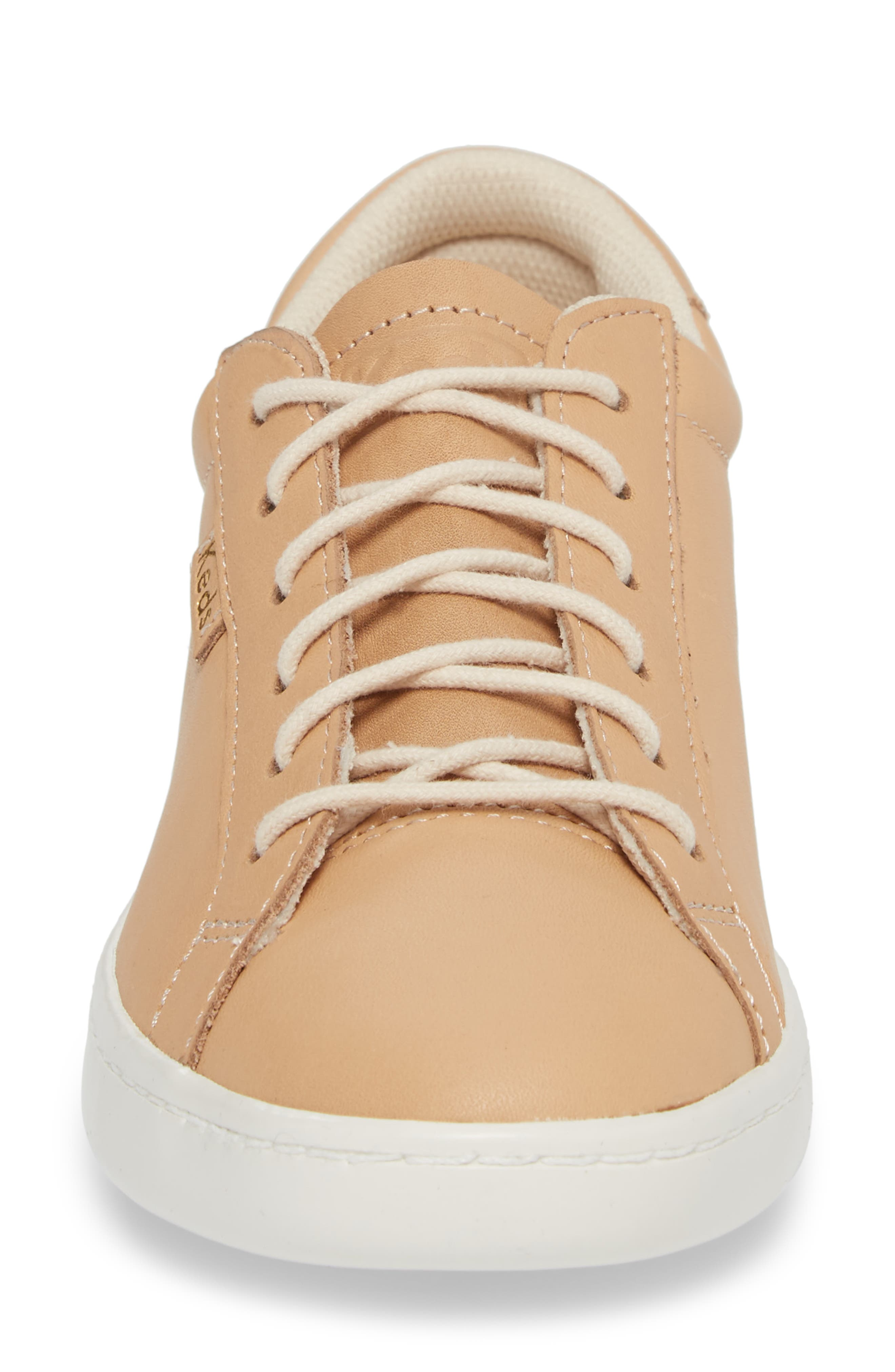 Ace Leather Sneaker,                             Alternate thumbnail 4, color,                             Natural